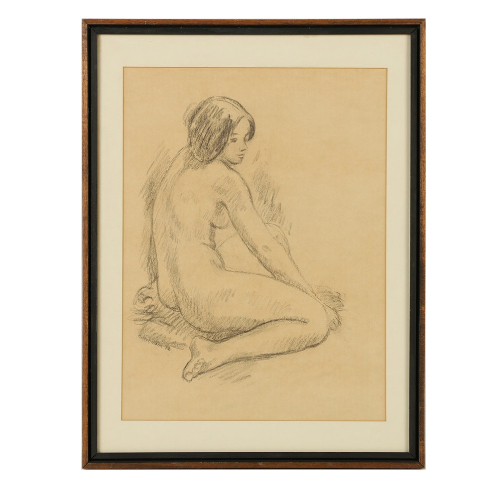 H. Hohmann Charcoal Drawing of a Female