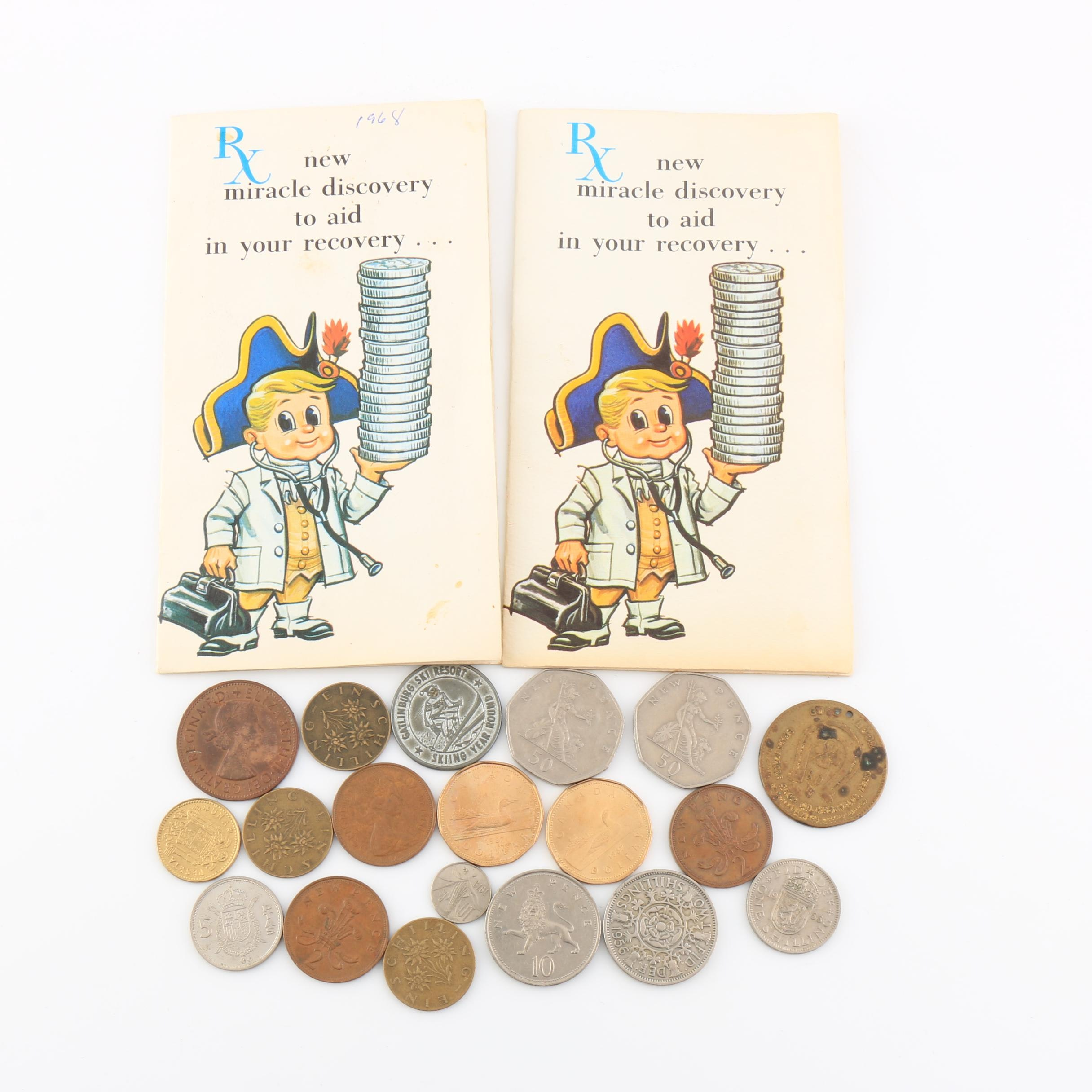 Two Roosevelt Dime Sets and an Assortment of Foreign Coins and Tokens