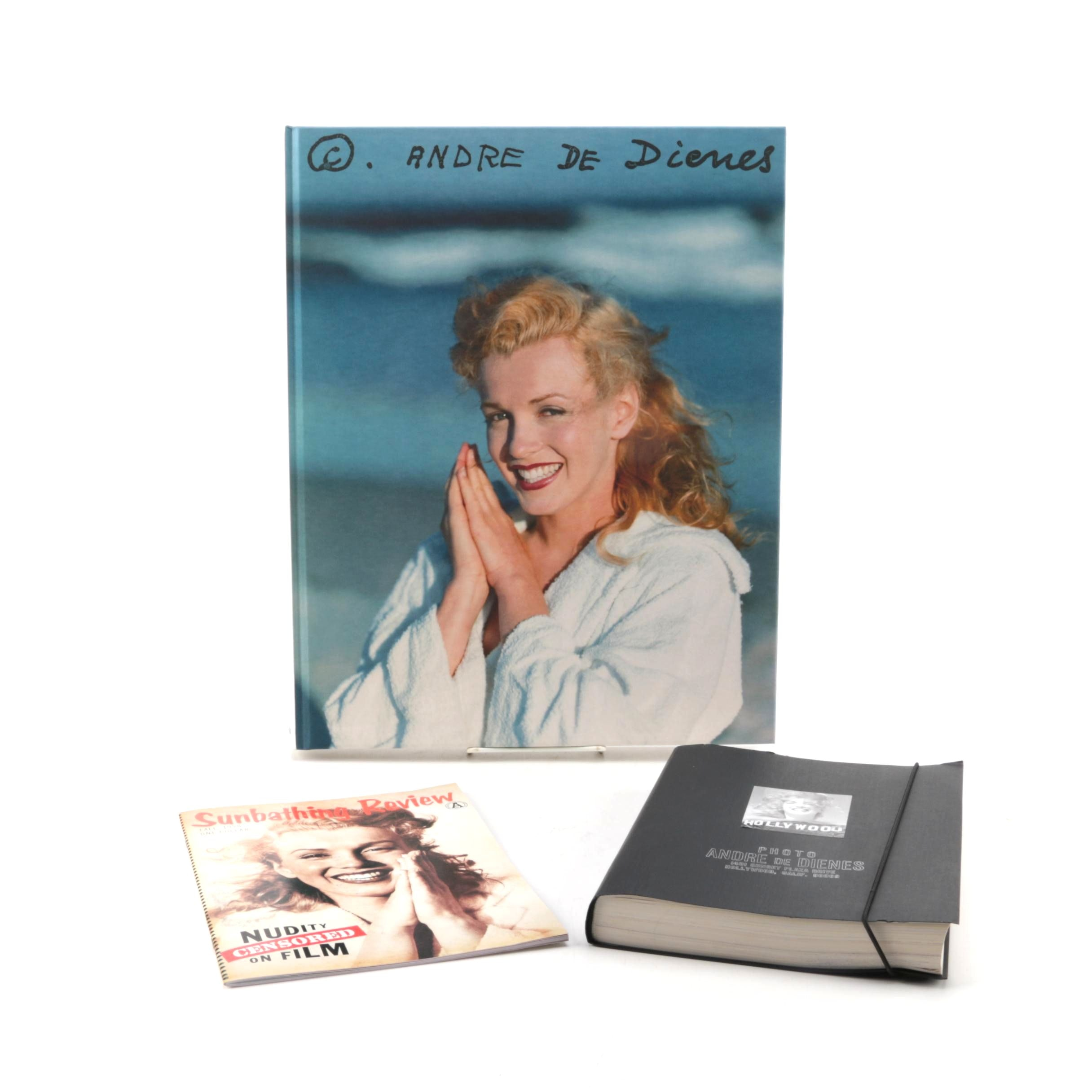 Andre de Dienes Marilyn Monroe Book and Facsimile Manuscript with Magazines