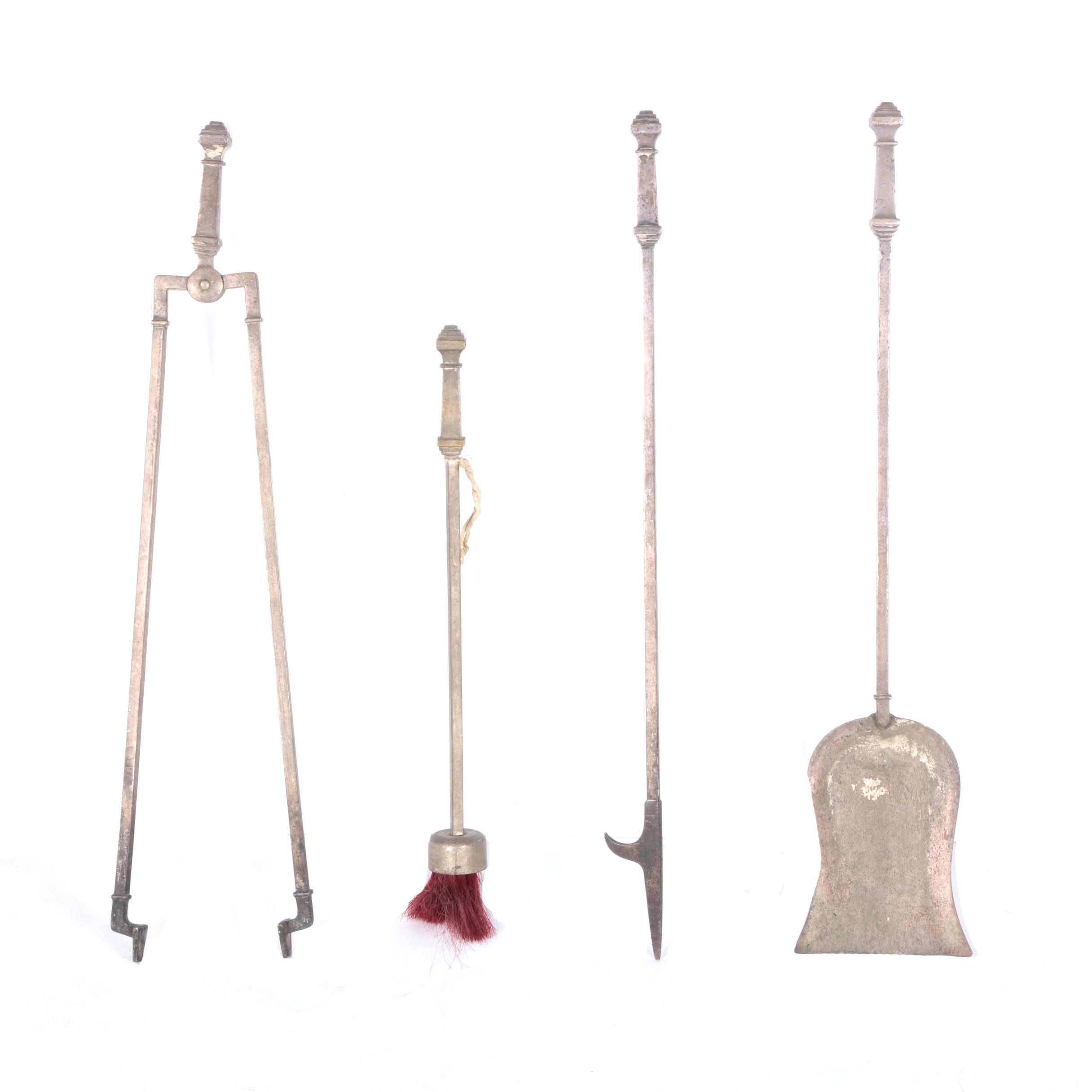 Arts and Crafts Style Vintage Metal Fireplace Tool Set