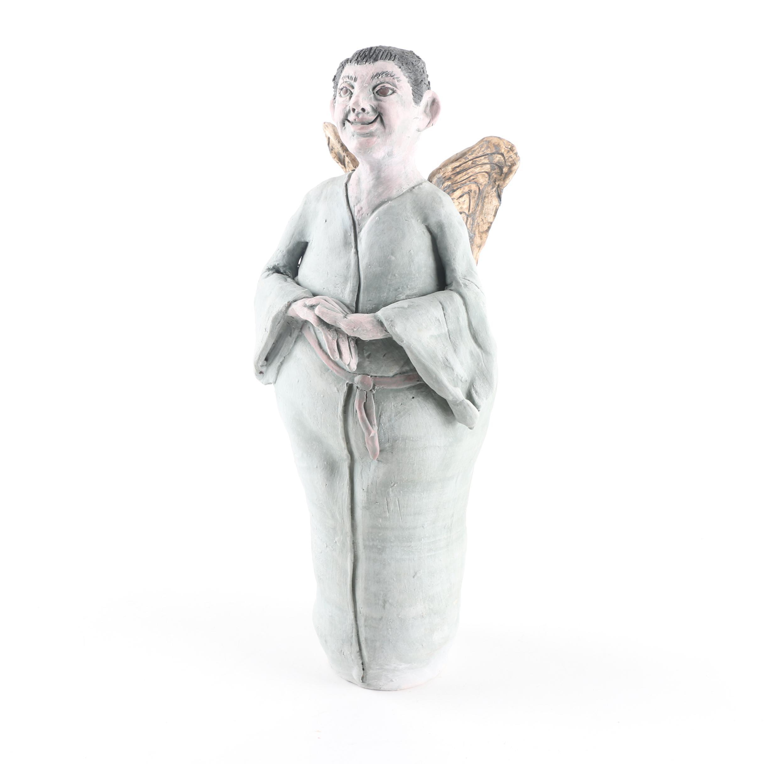 Handbuilt Bisque Stoneware Angel Figurine