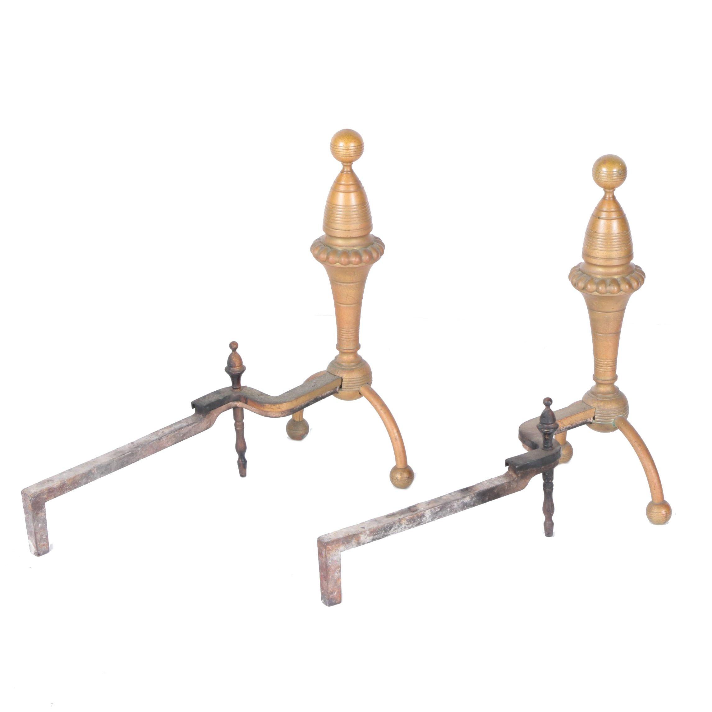 Victorian Brass Beehive Finial Andirons