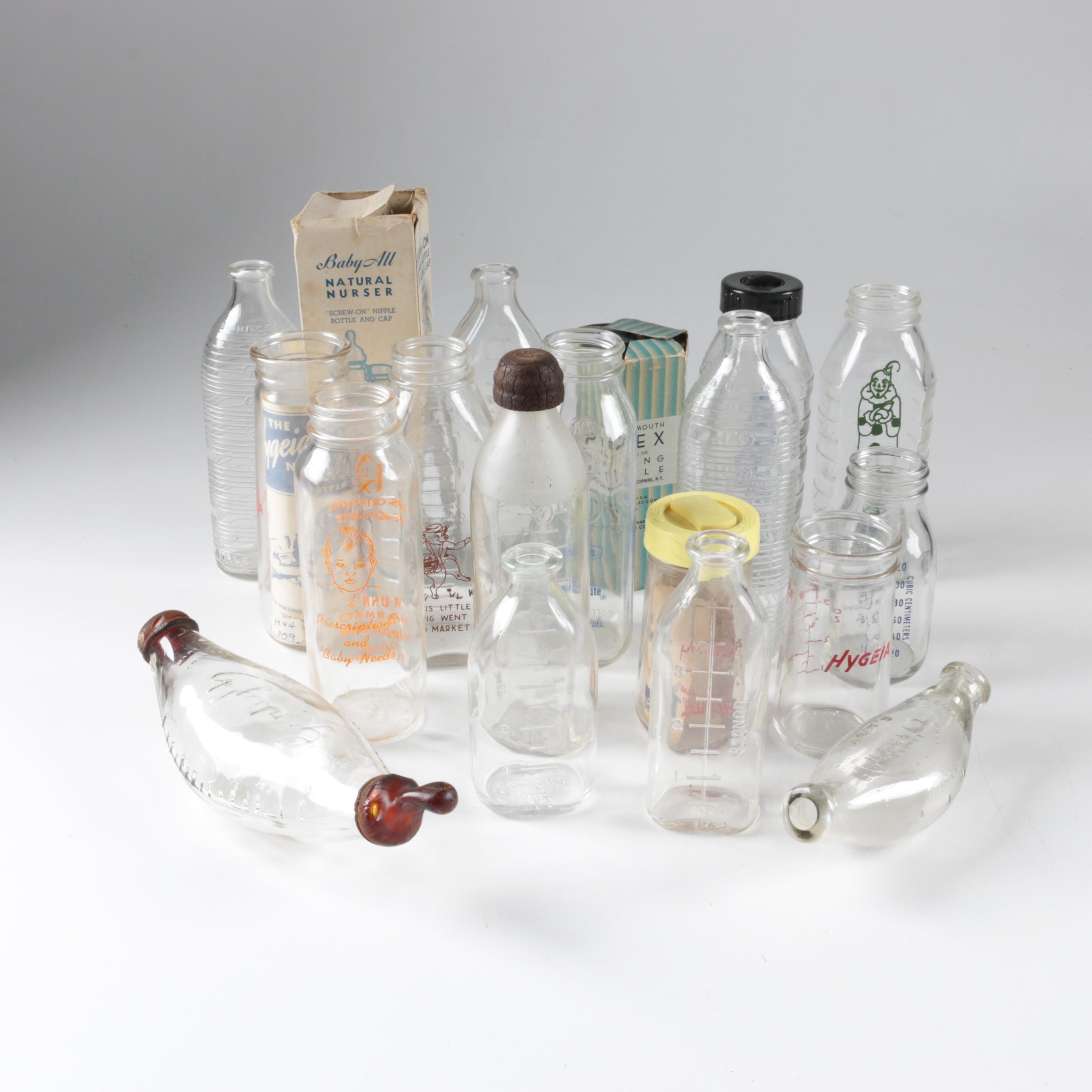 Vintage Glass Baby Bottles including Samuel Callet Co.
