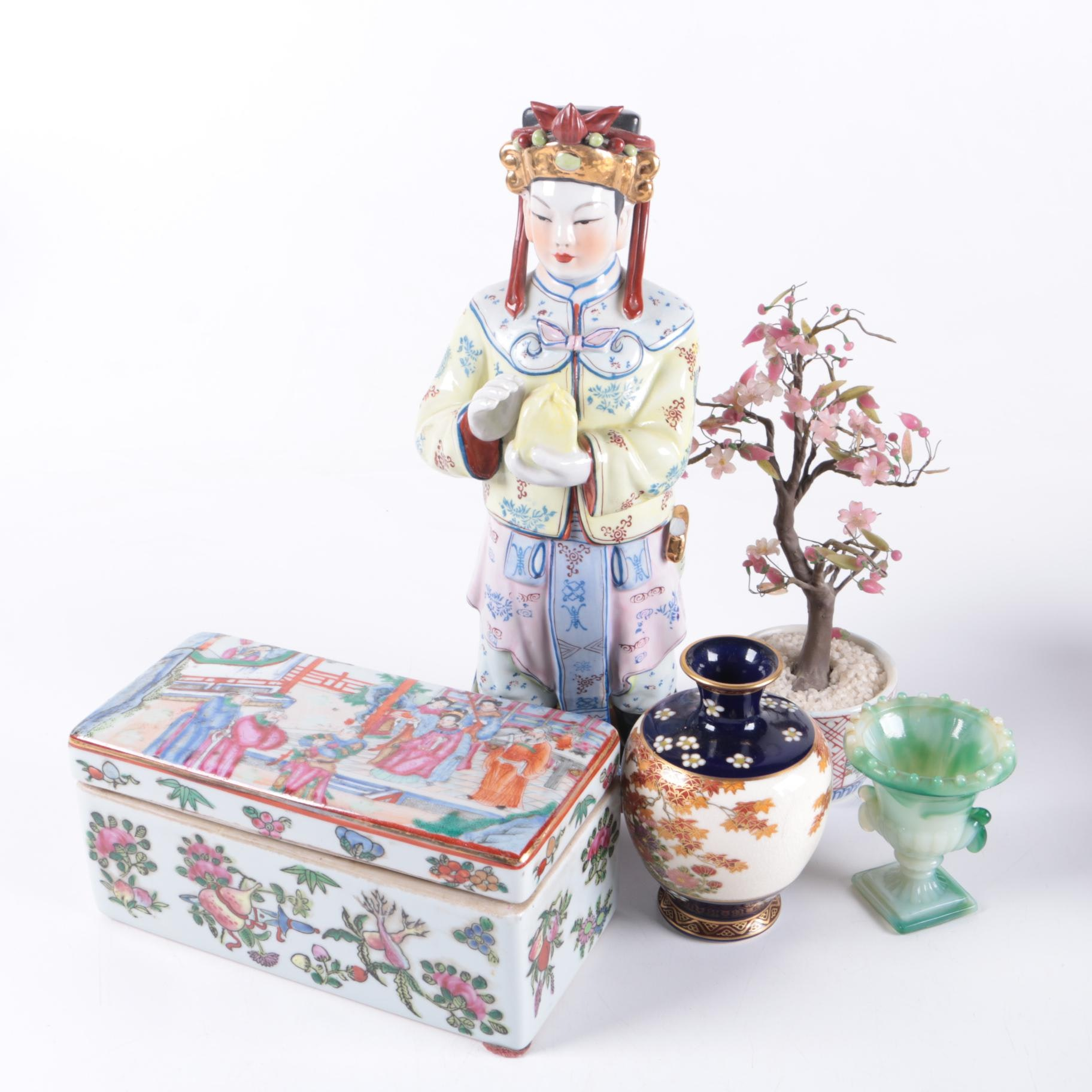 Chinese Trinket Box, Figurine and Decor