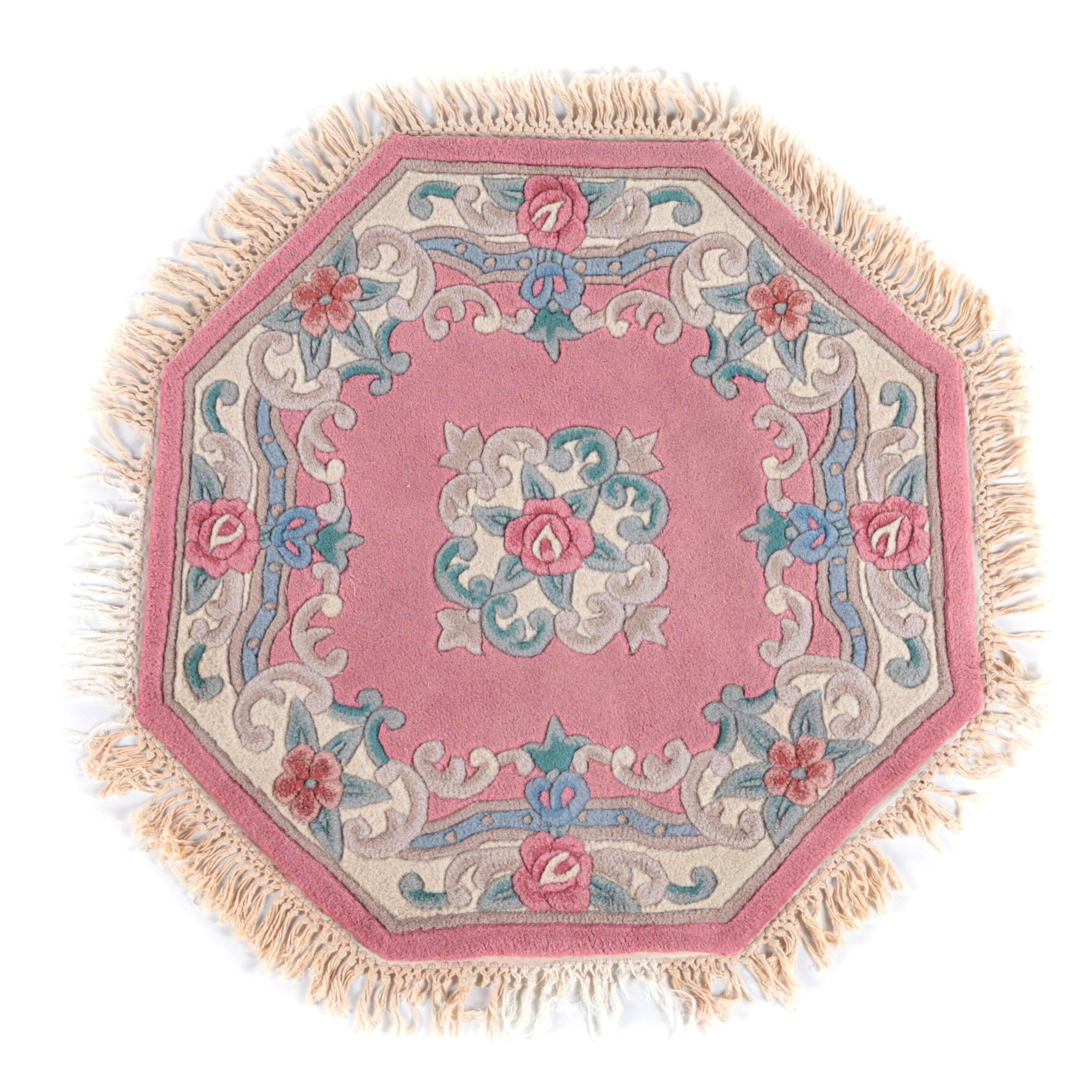 Hand-Tufted Chinese Octagonal Carved Wool Area Rug