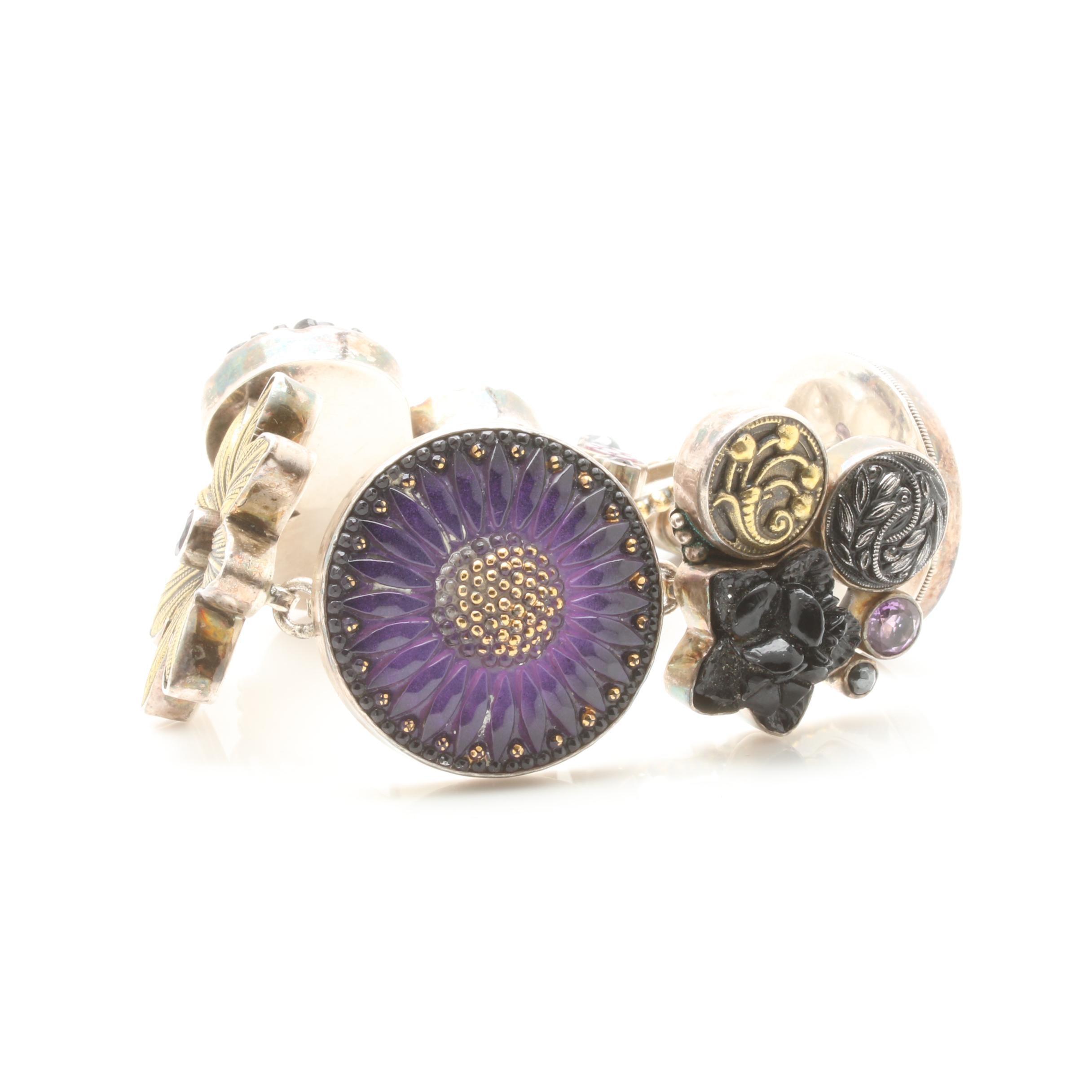 Sterling Silver Amethyst and Gemstone Bracelet