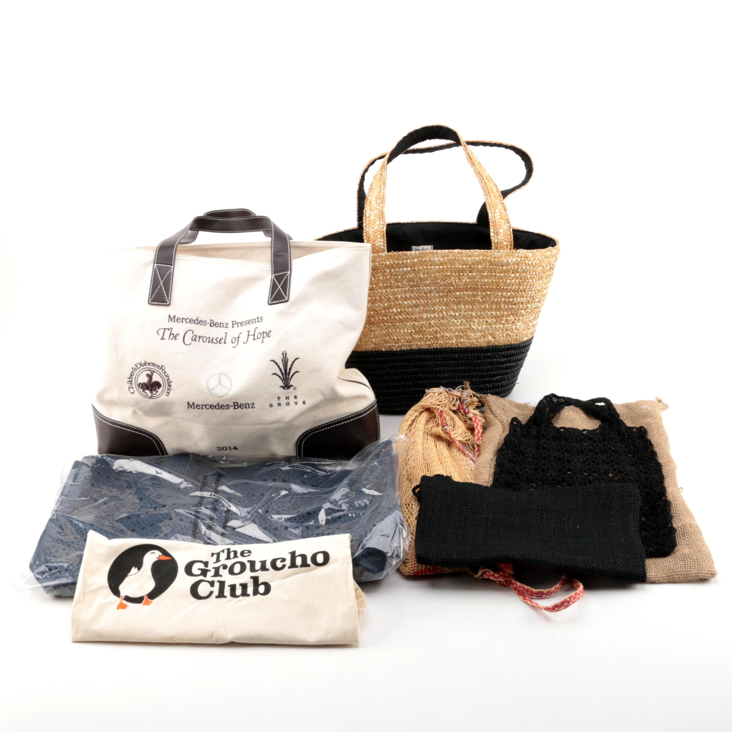 Straw, Canvas and Leather Tote Bags Including Neiman Marcus