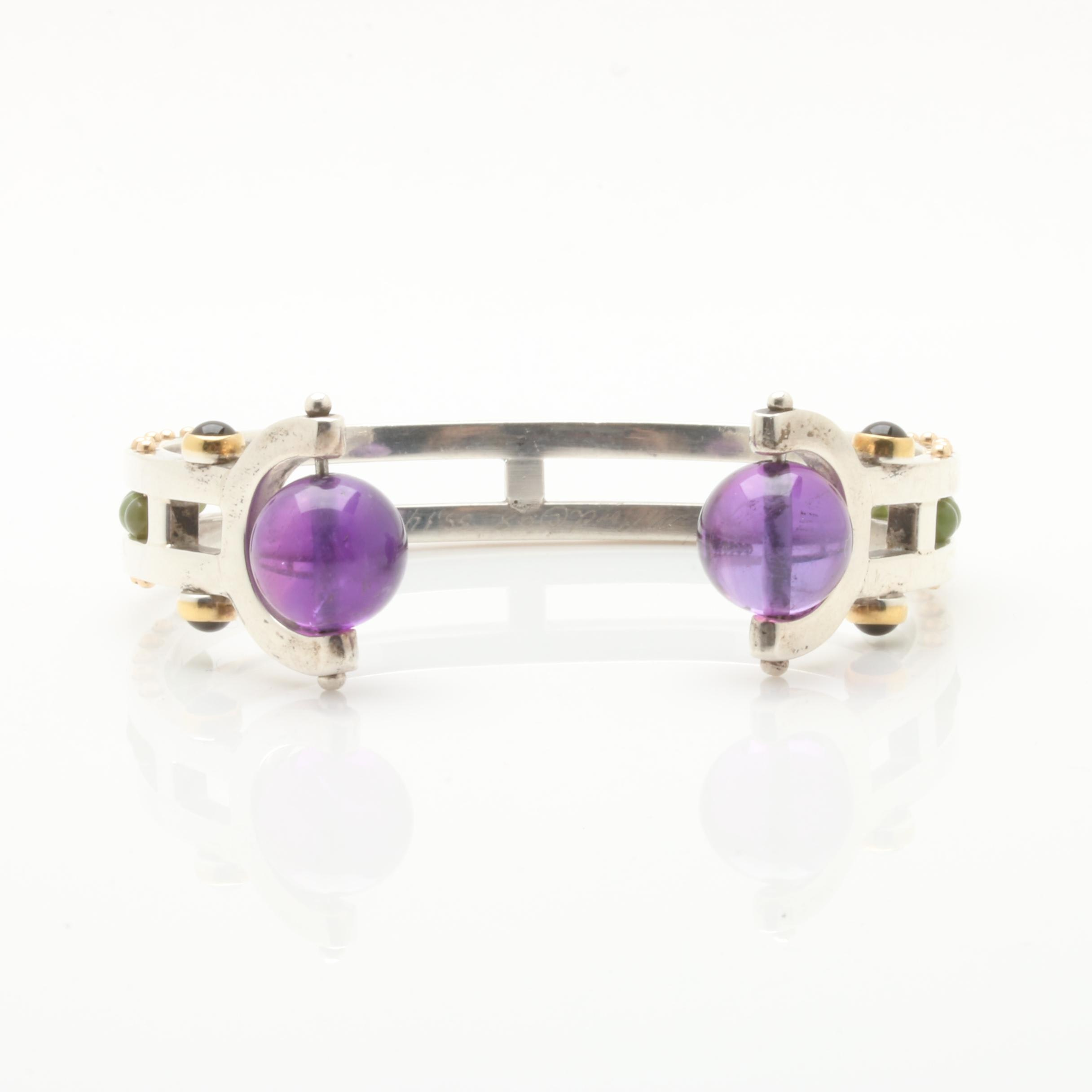 Sterling Silver Amethyst, Black Onyx, and Nephrite Bracelet With Gold Accents