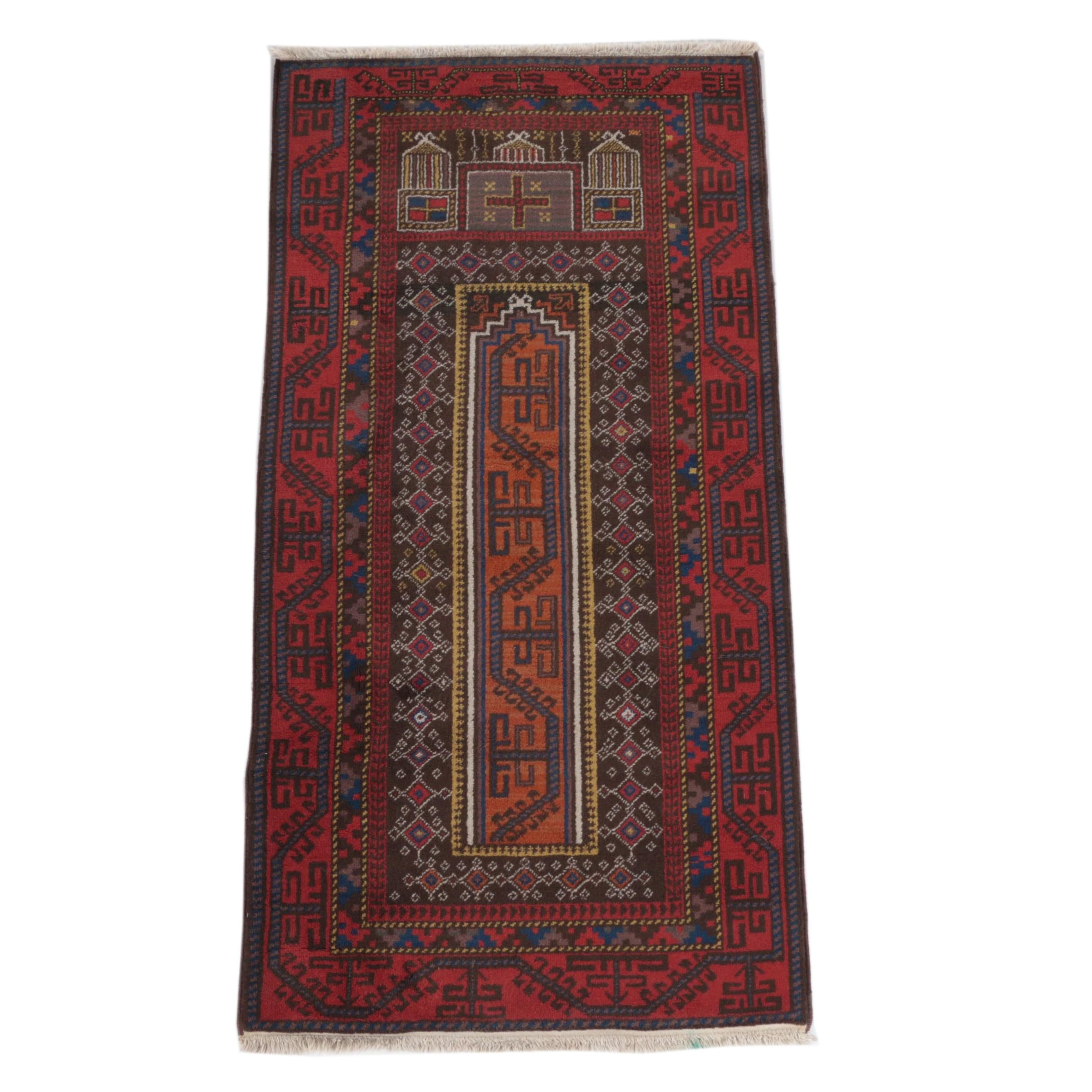 Hand-Knotted Baluch Mosque Prayer Rug
