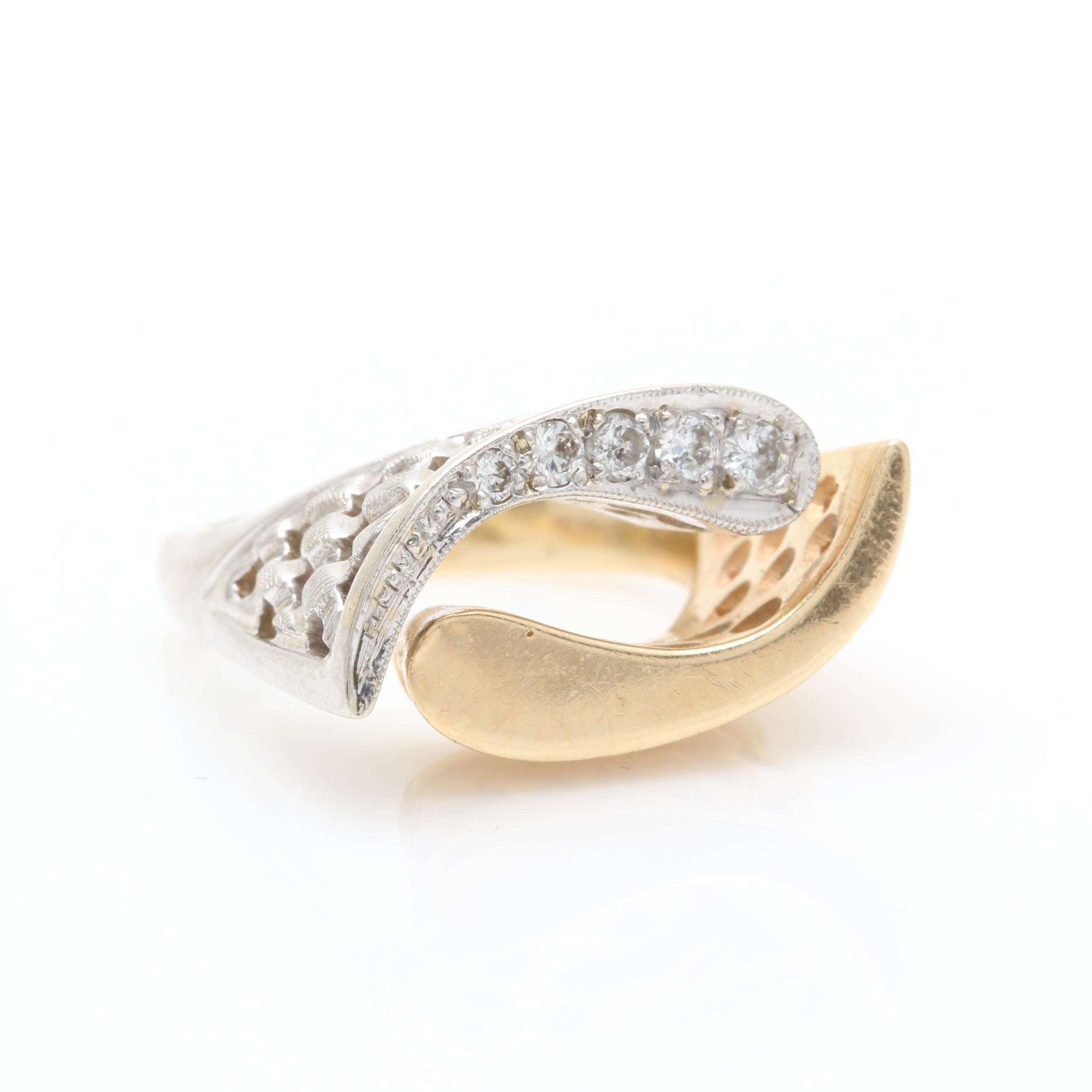 14K Yellow Gold and White Gold Diamond European Shank Ring