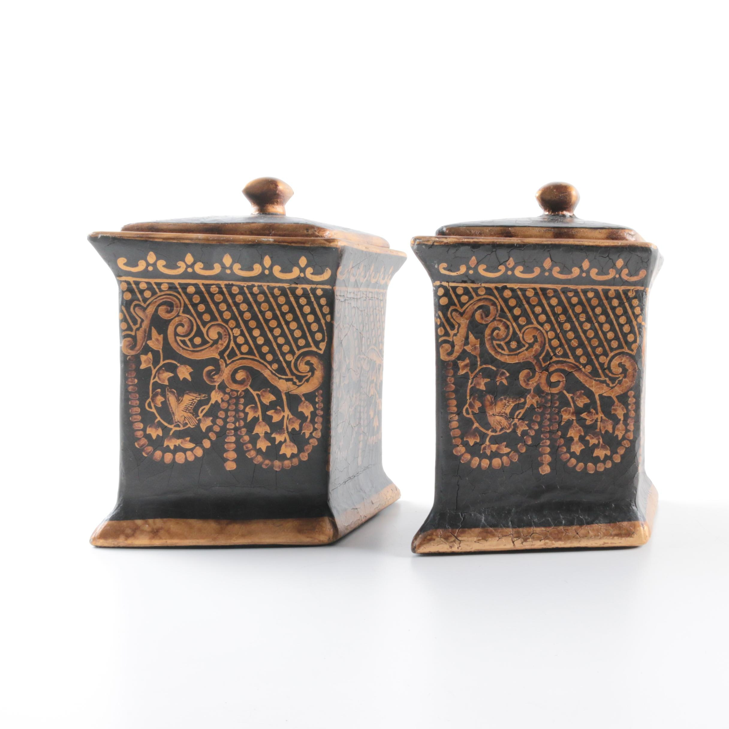 Matching Diamond Shaped Ceramic Containers