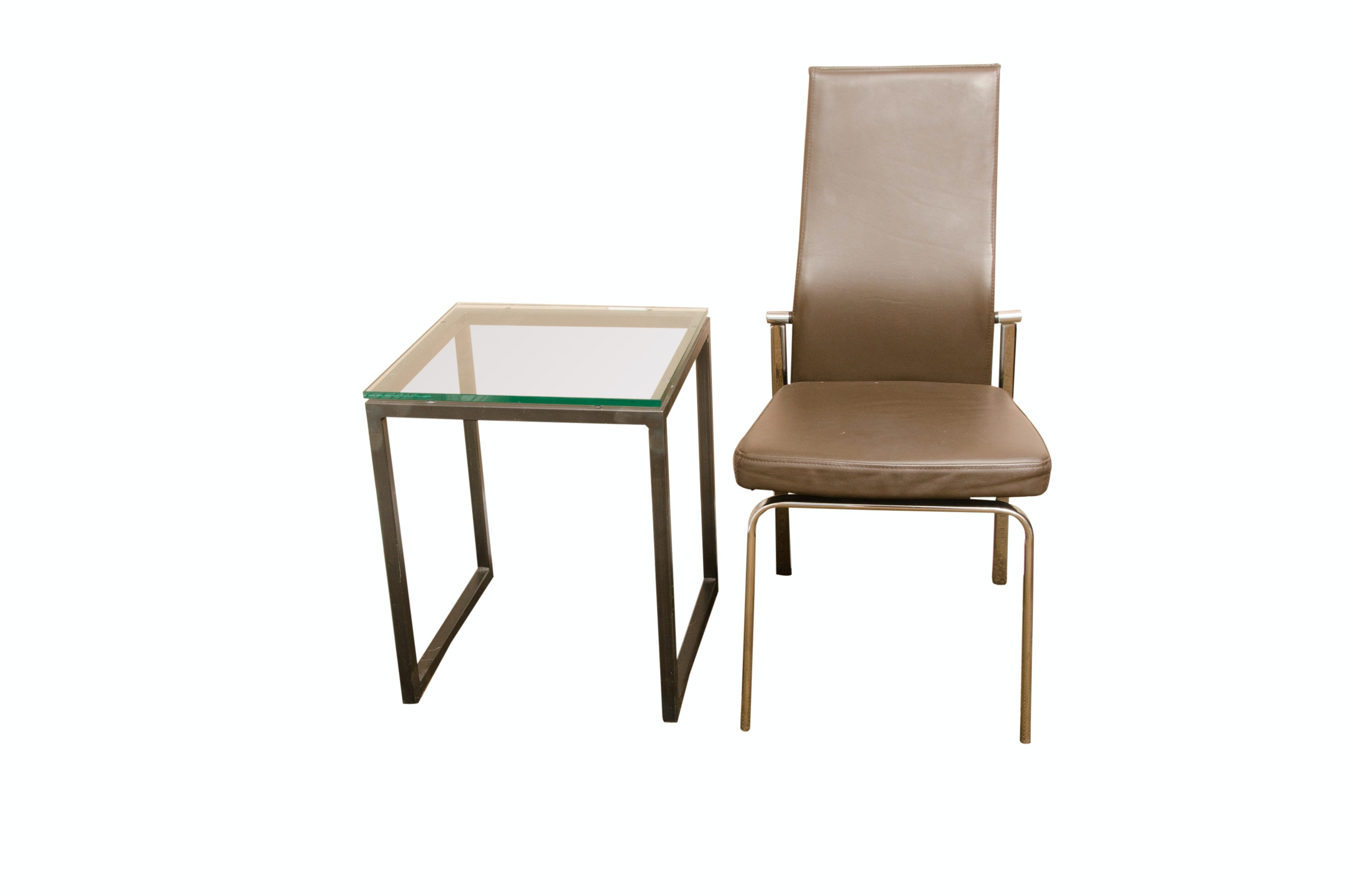 Modern Style High Back Chair with Side Table