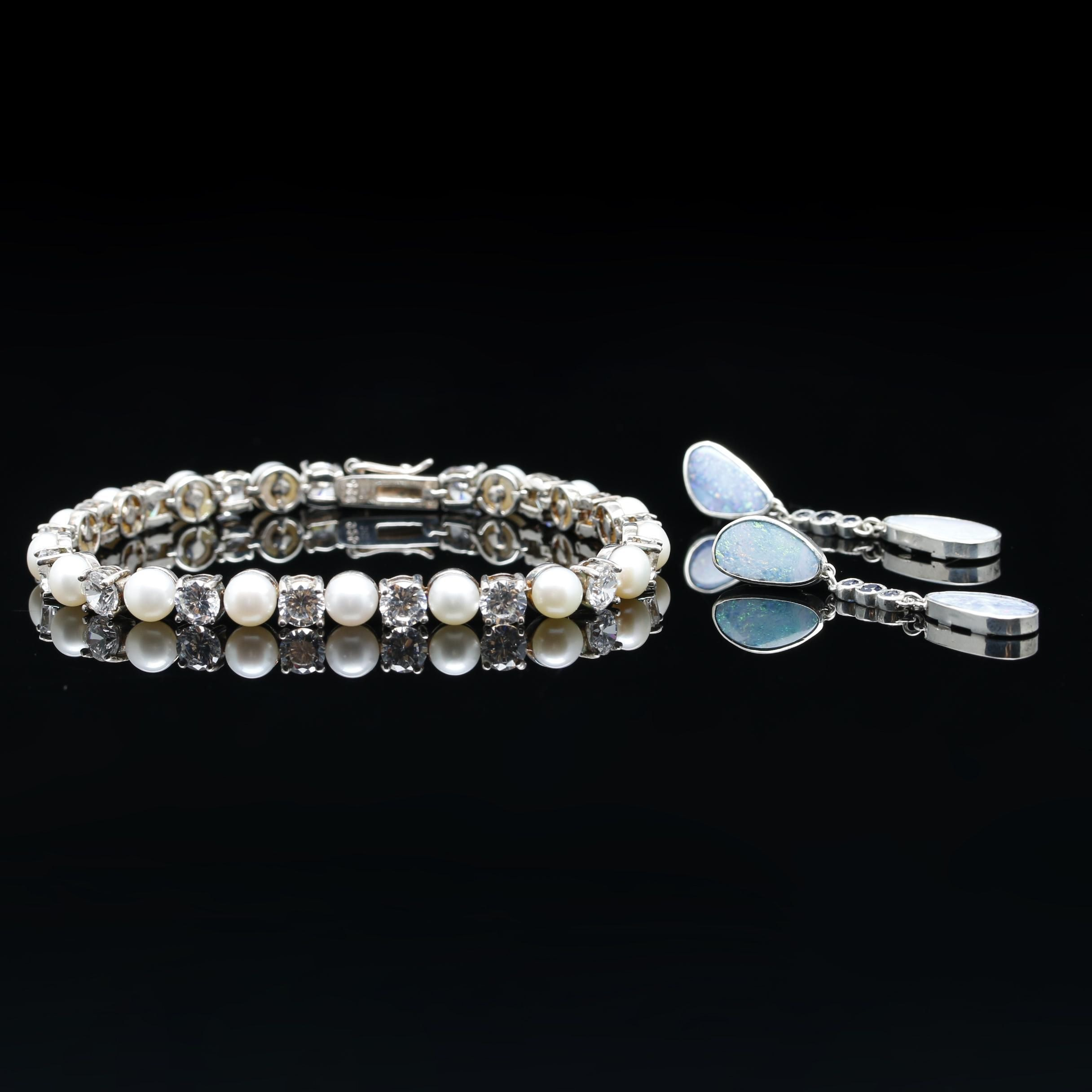 Sterling Silver Cultured Pearl Bracelet and Opal and Sapphire Earrings