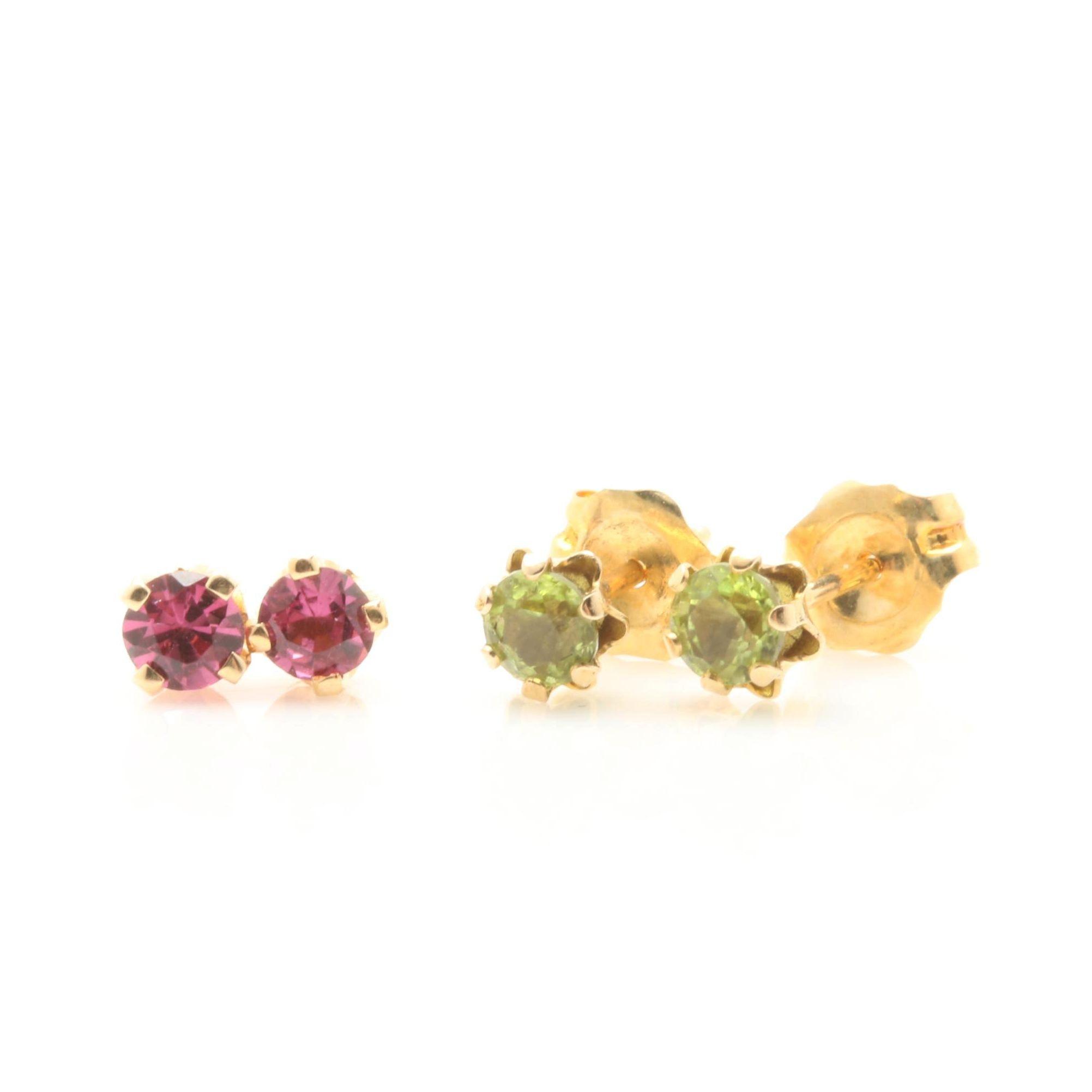 14K Yellow Gold Rhodolite Garnet and Peridot Stud Earrings