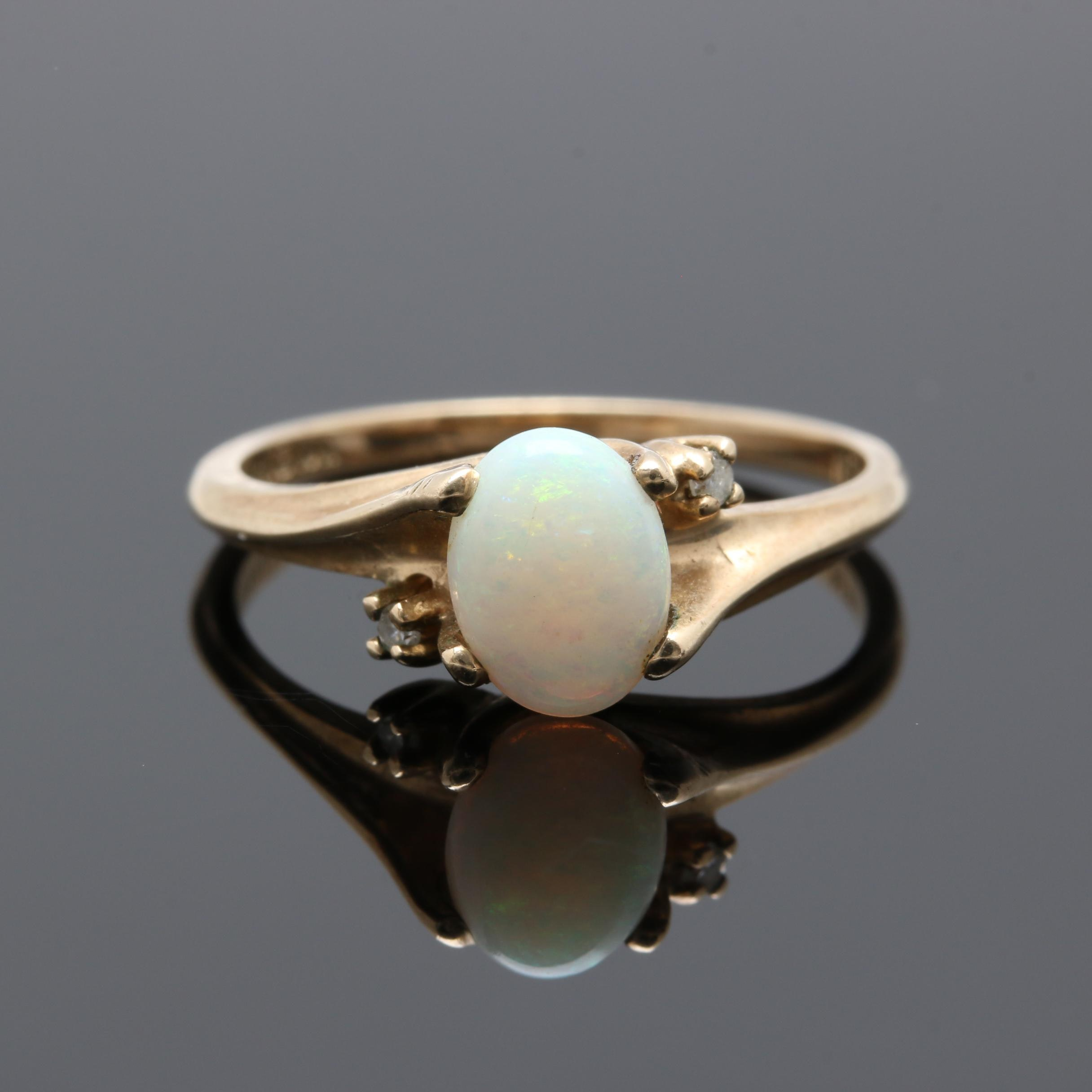 10K Yellow Gold Opal and Diamond Bypass Ring