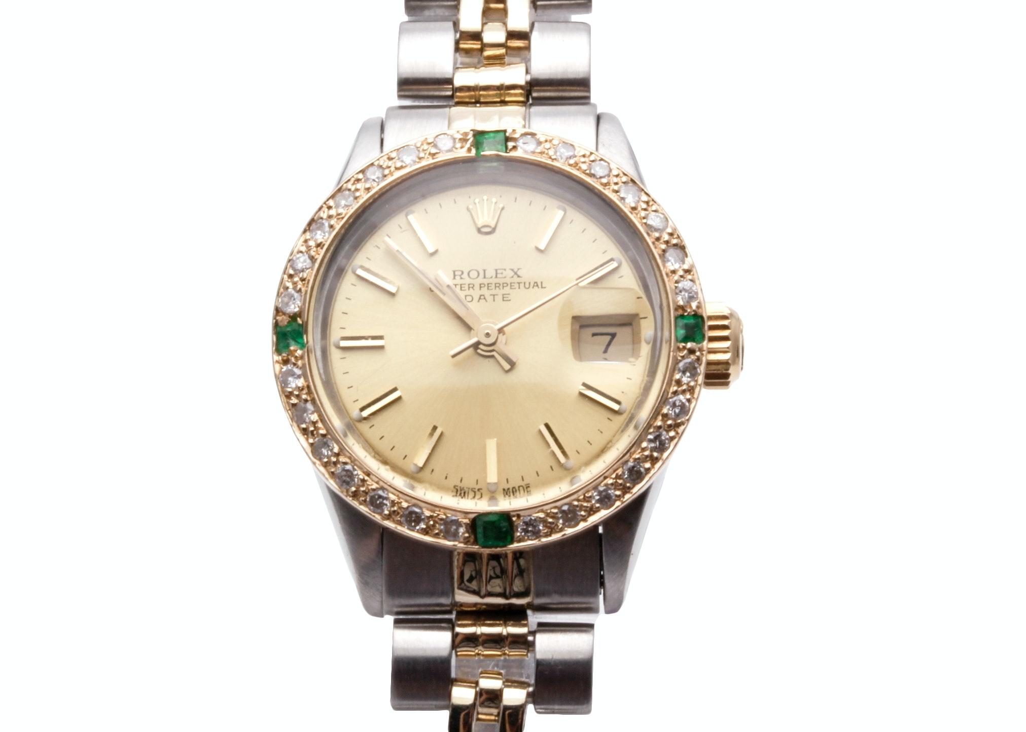 Rolex 14K Gold Accented Diamond and Emerald Wristwatch