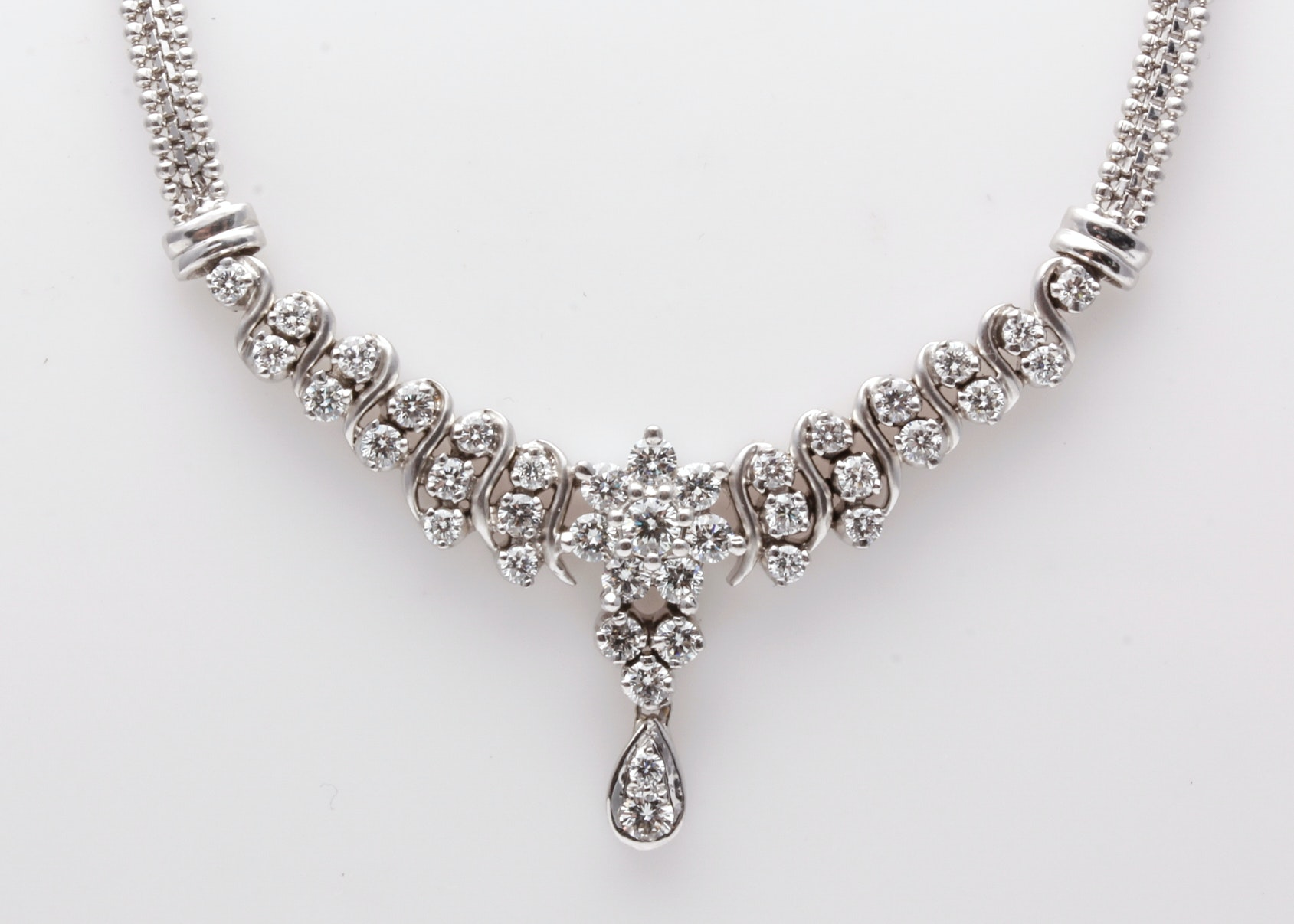 18K White Gold 1.10 CTW Diamond Necklace with 14K White Gold Chain
