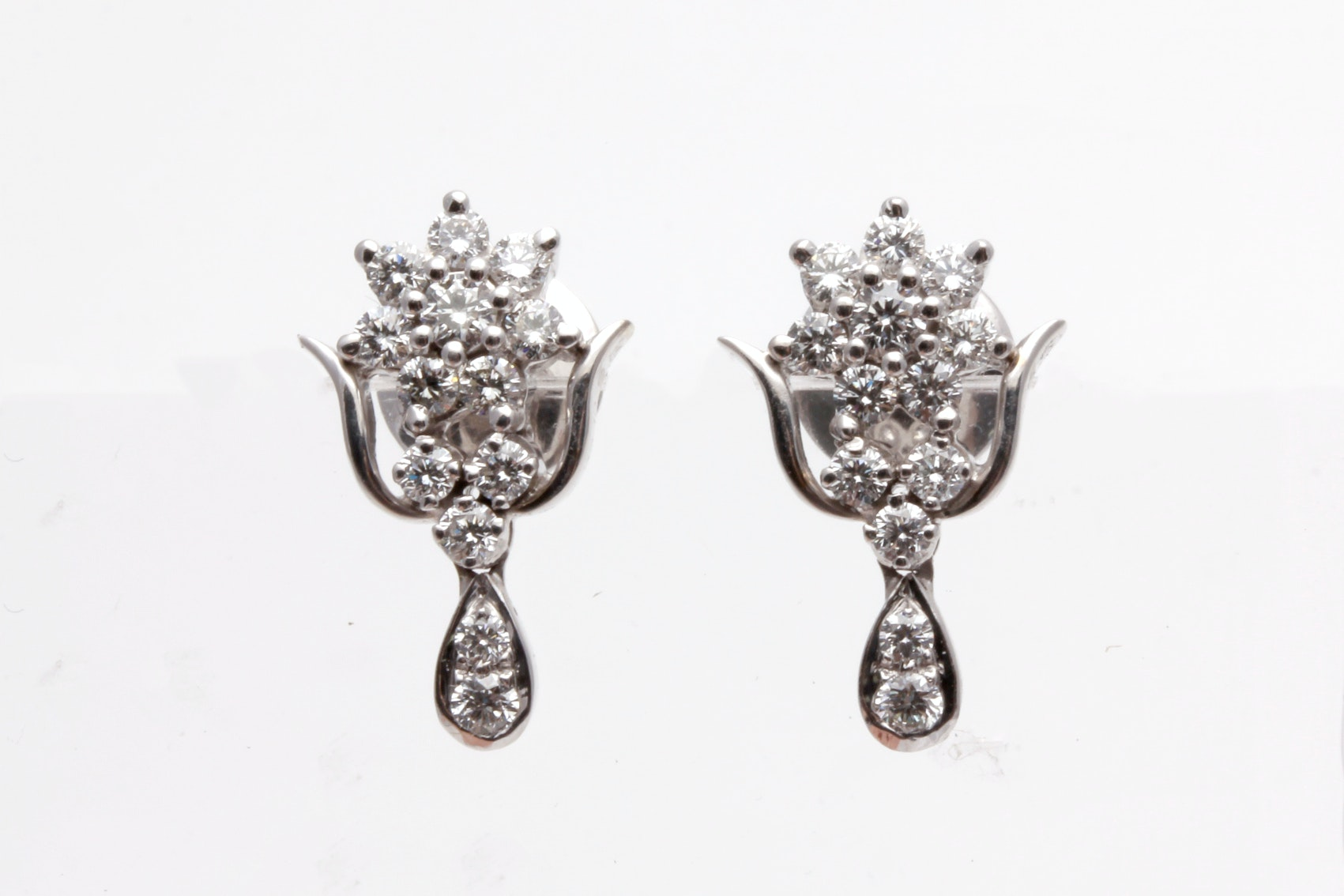 18K White Gold 0.95 CTW Diamond Earrings
