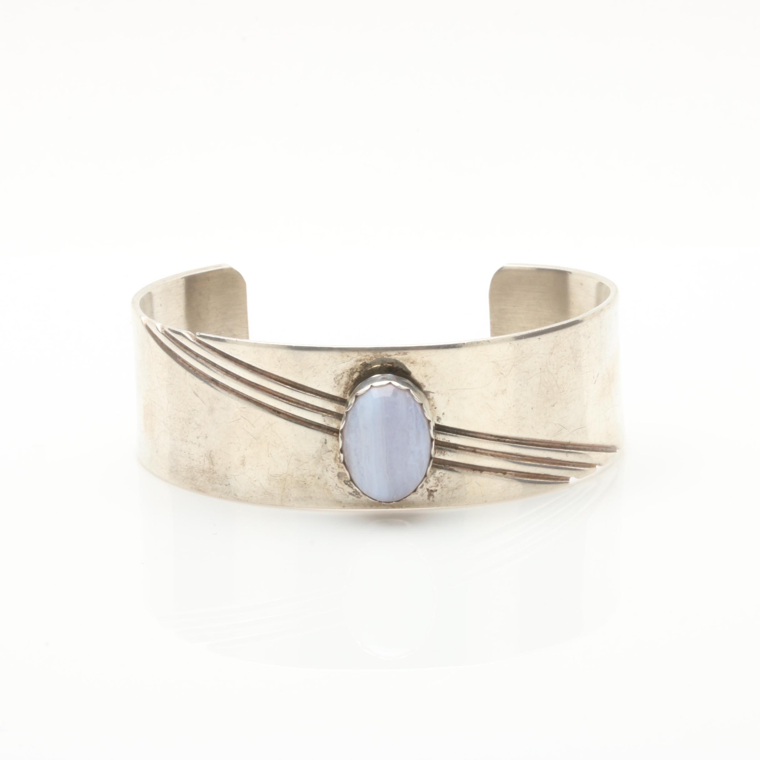 Julia Etsitty Navajo Diné Sterling Silver Agate Bracelet