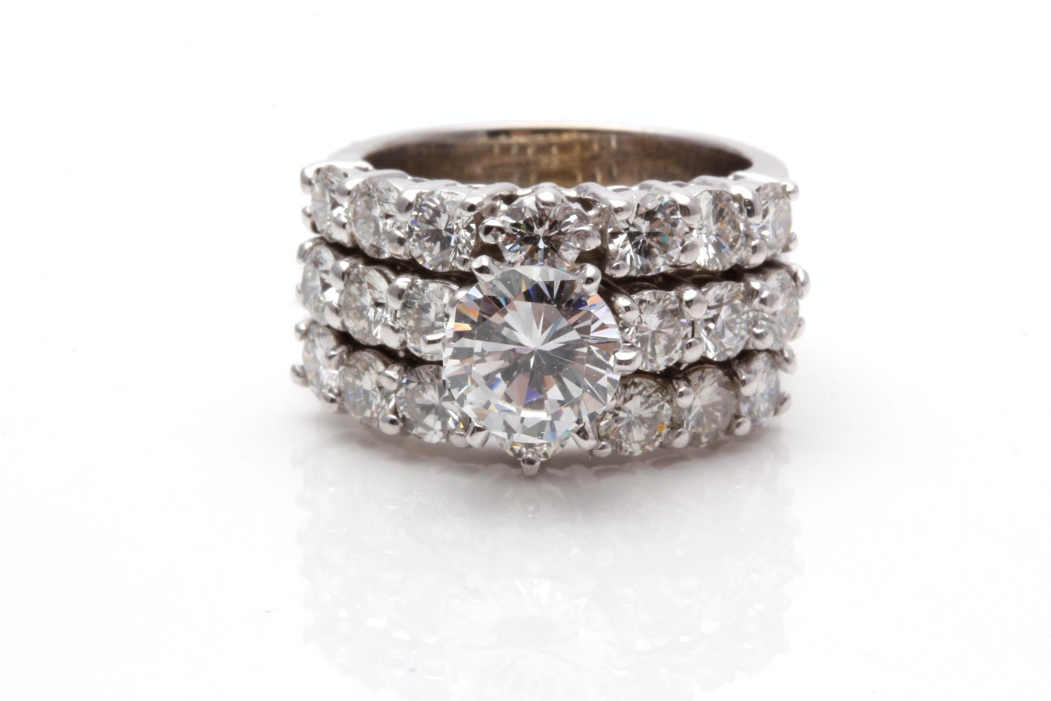14K White Gold 2.00 CTW Diamond Semi Mount Ring With Cubic Zirconia Center Stone
