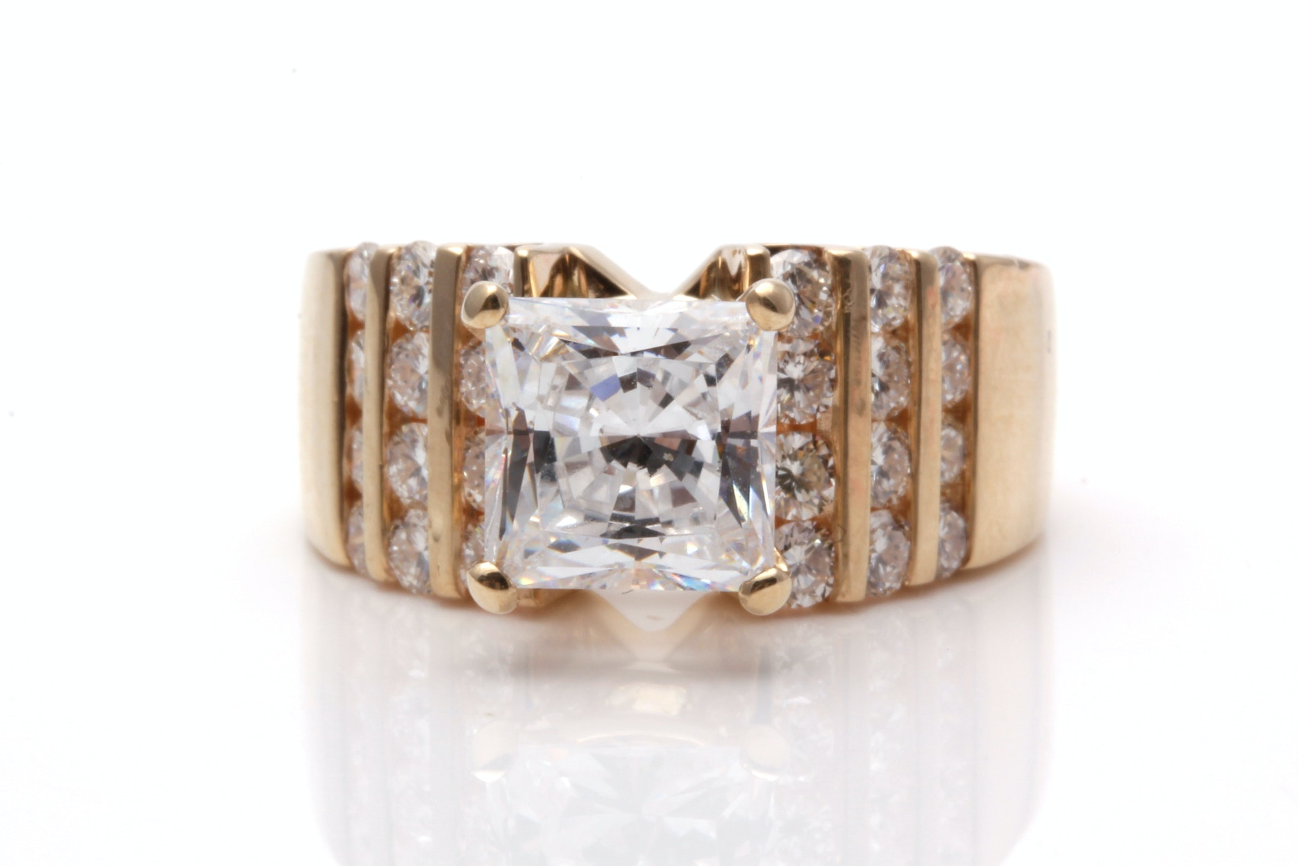 14K Yellow Gold Semi Mount Diamond Ring With Cubic Zirconia Center Stone