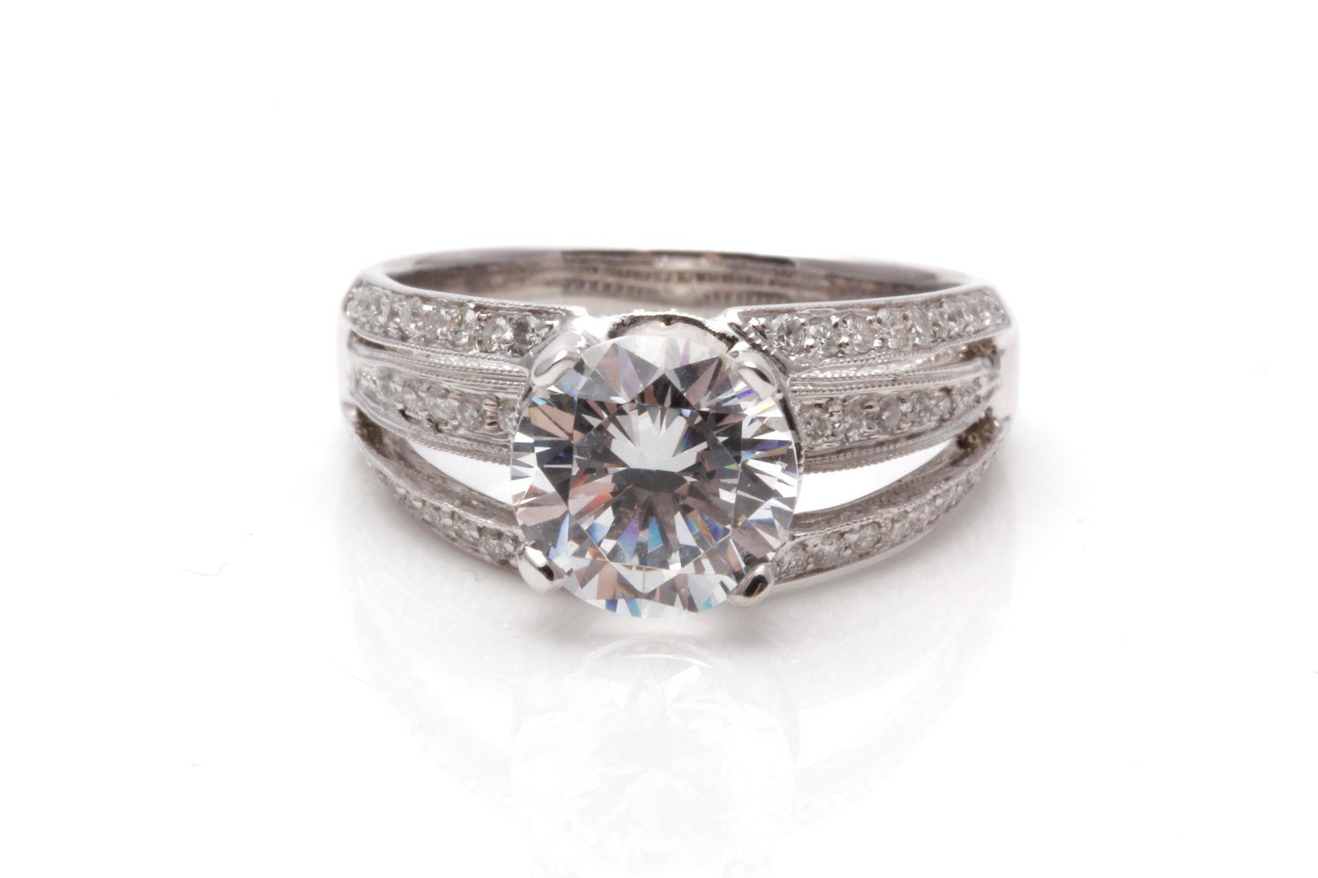 14K White Gold 1.25 CTW Semi Mount Diamond Ring With Cubic Zirconia Center Stone