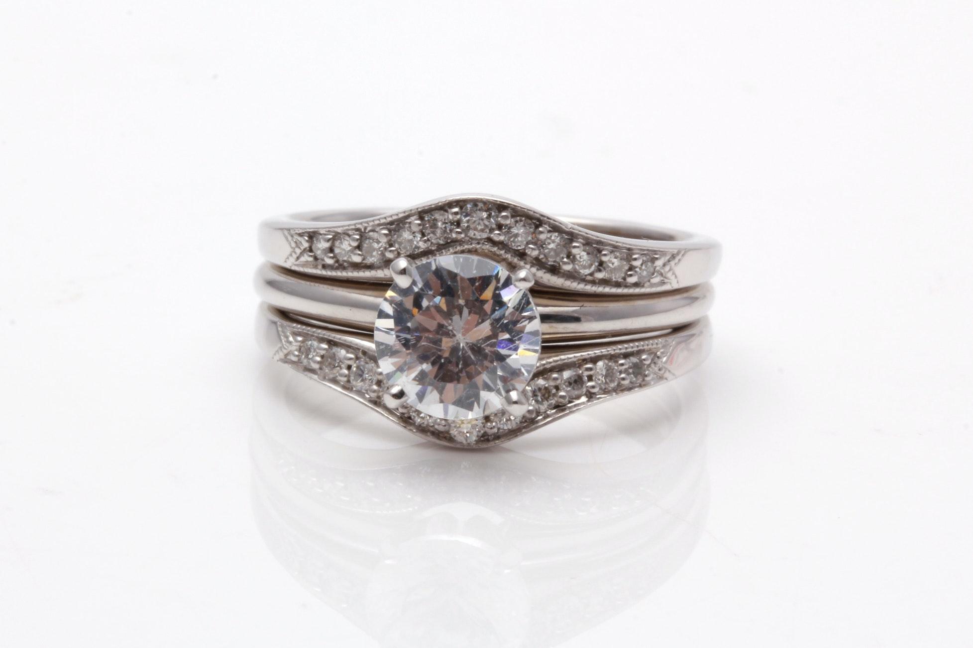 14K White Gold Semi Mount Diamond Bridal Ring With Cubic Zirconia Center Stone