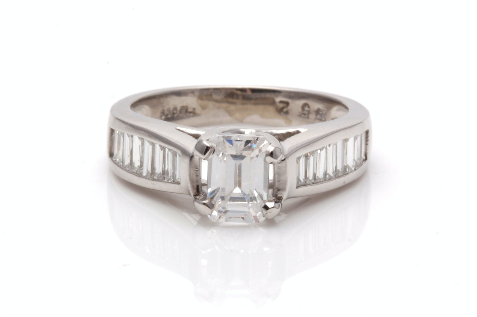 Platinum Diamond Semi Mount Ring With Cubic Zirconia Center Stone