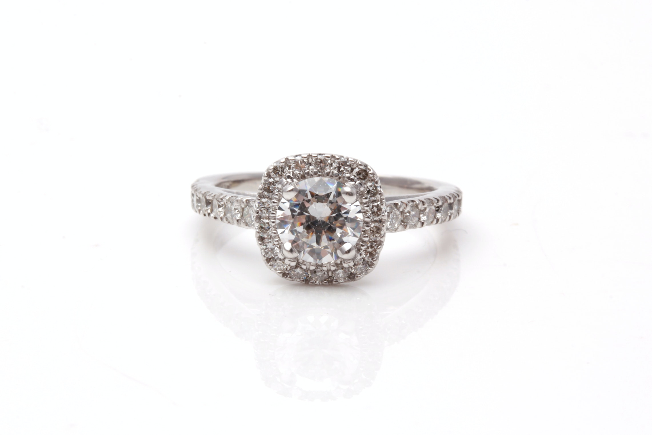 14K White Gold Diamond Semi Mount Ring With Cubic Zirconia Center Stone
