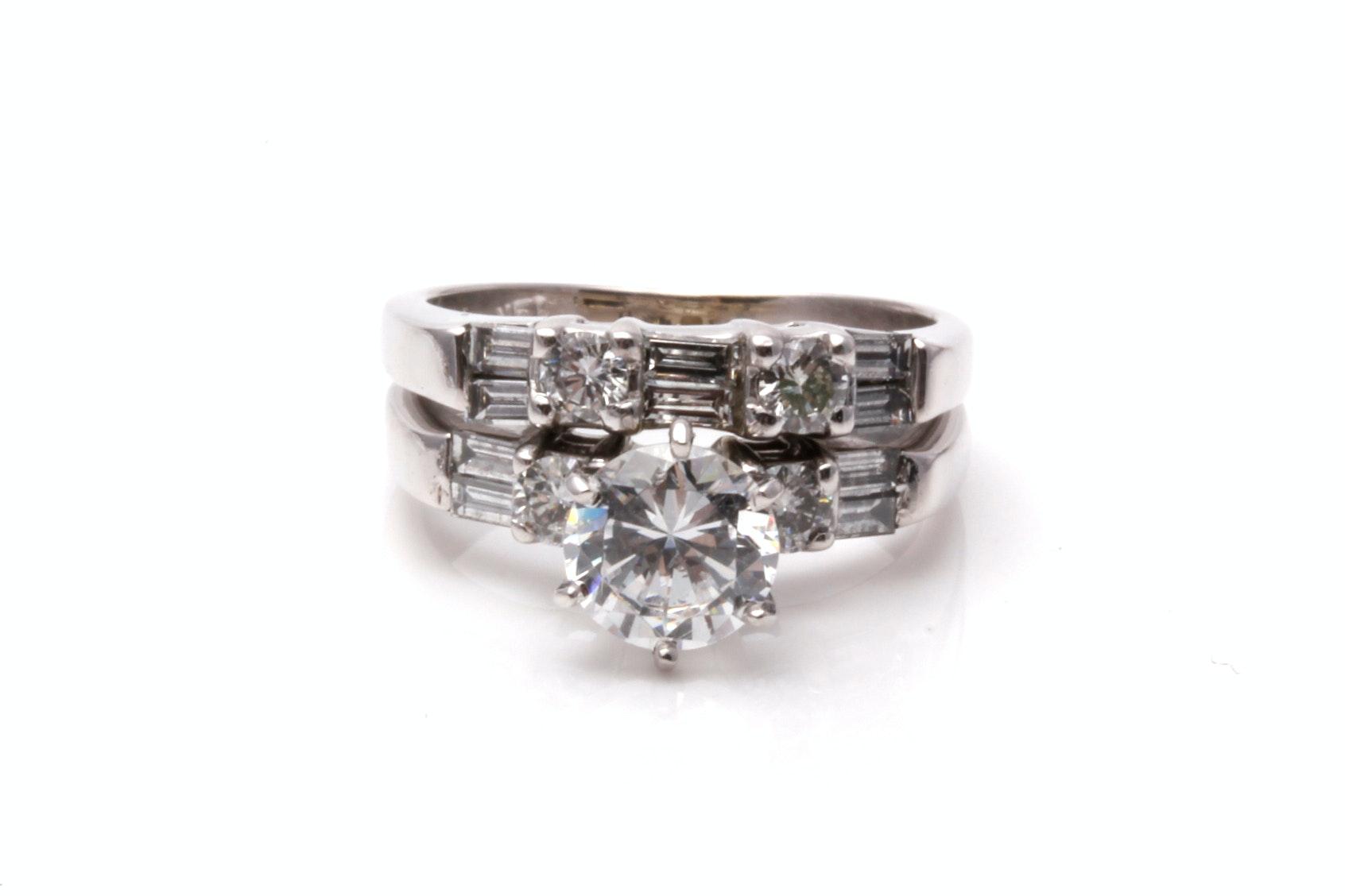 14K White Gold Diamond Semi Mount Ring With Cubic Zirconia Center Stone