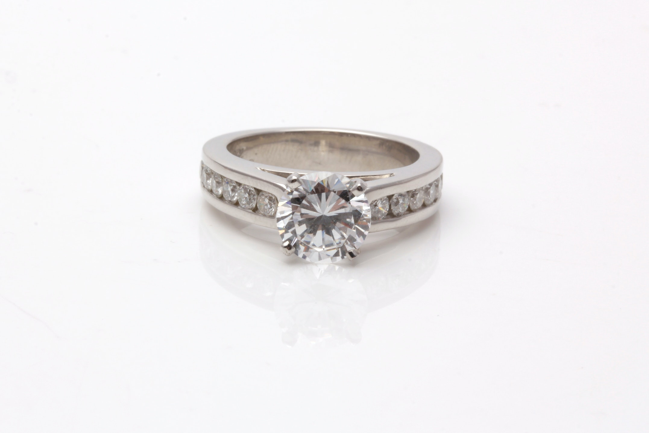Platinum and Diamond Semi Mount Ring With Cubic Zirconia Center Stone
