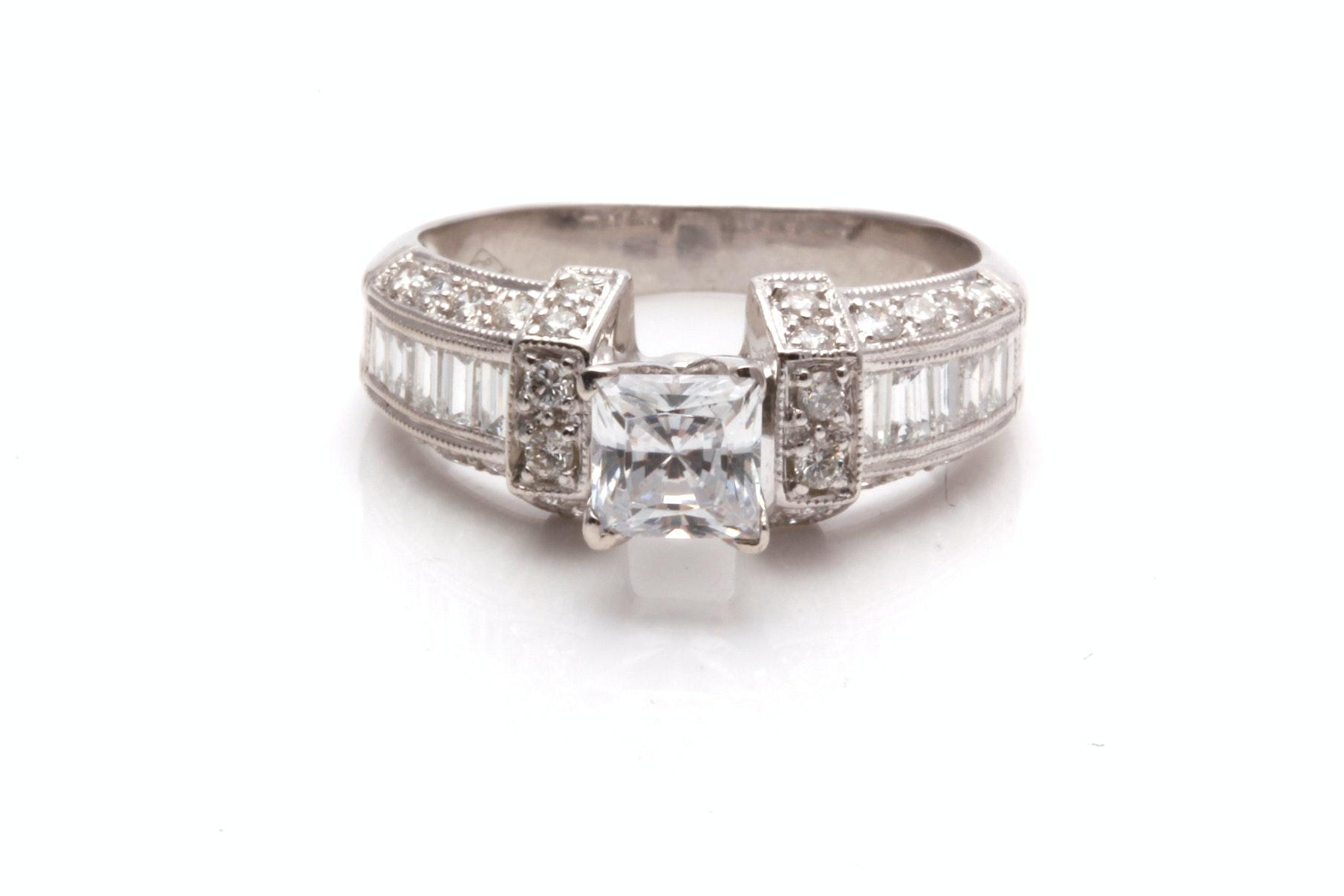 14K White Gold Semi Mount Diamond Ring With Cubic Zirconia Center Stone