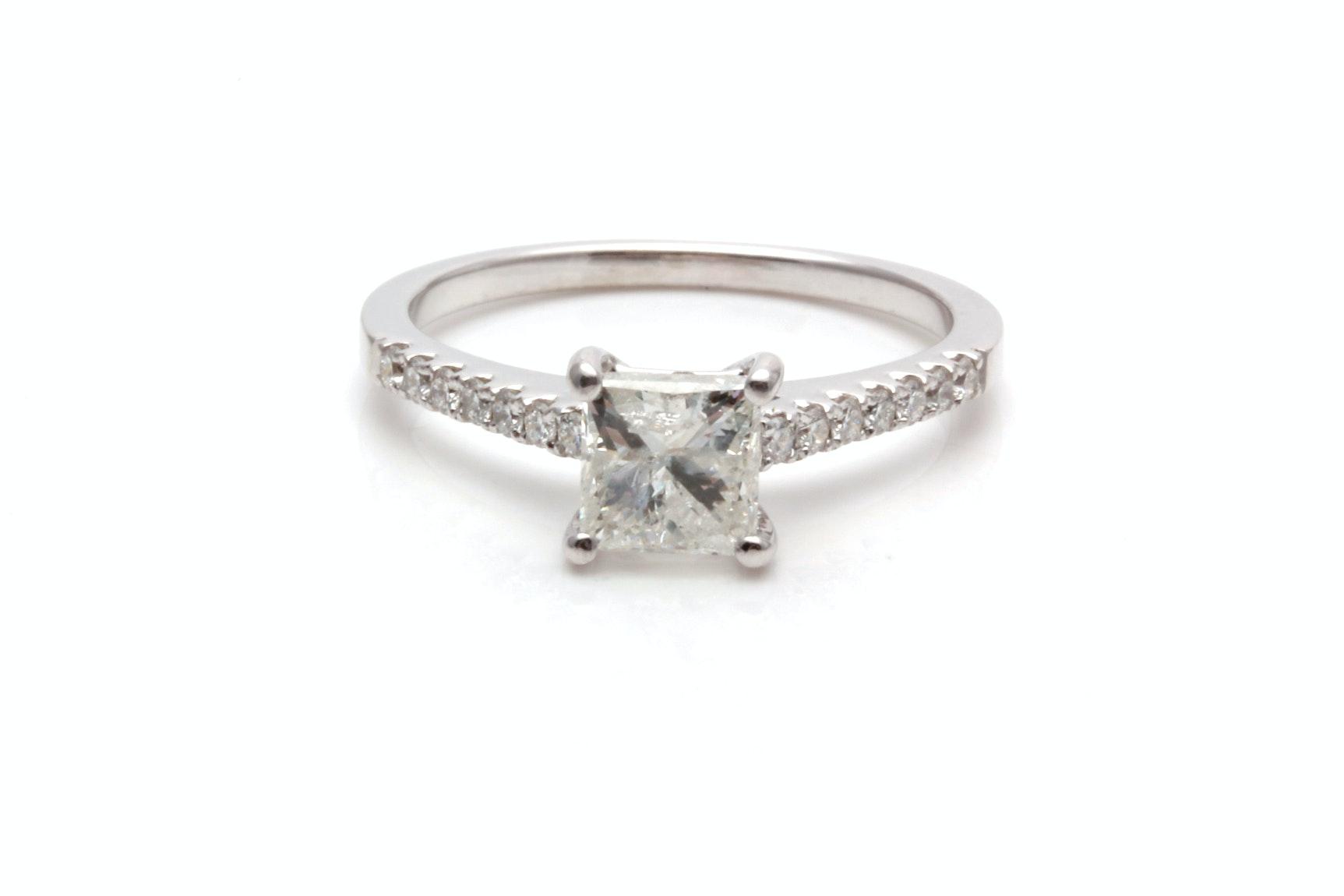 14K White Gold 1.10 CTW Diamond Engagement Ring