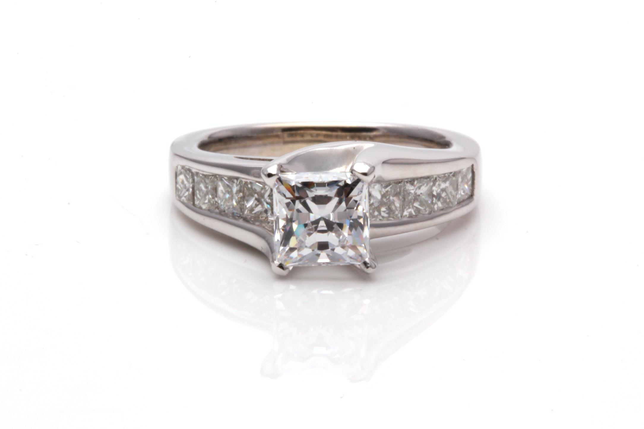 14K White Gold 1.05 CTW Diamond Semi-Mount Ring With Cubic Zirconia Center