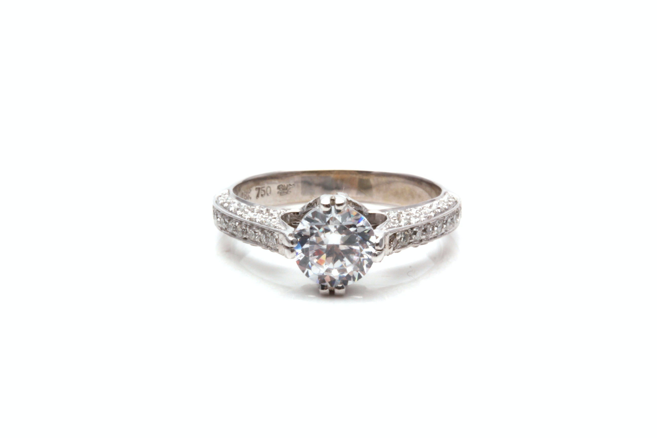 18K White Gold Diamond Semi Mount Ring With Cubic Zirconia