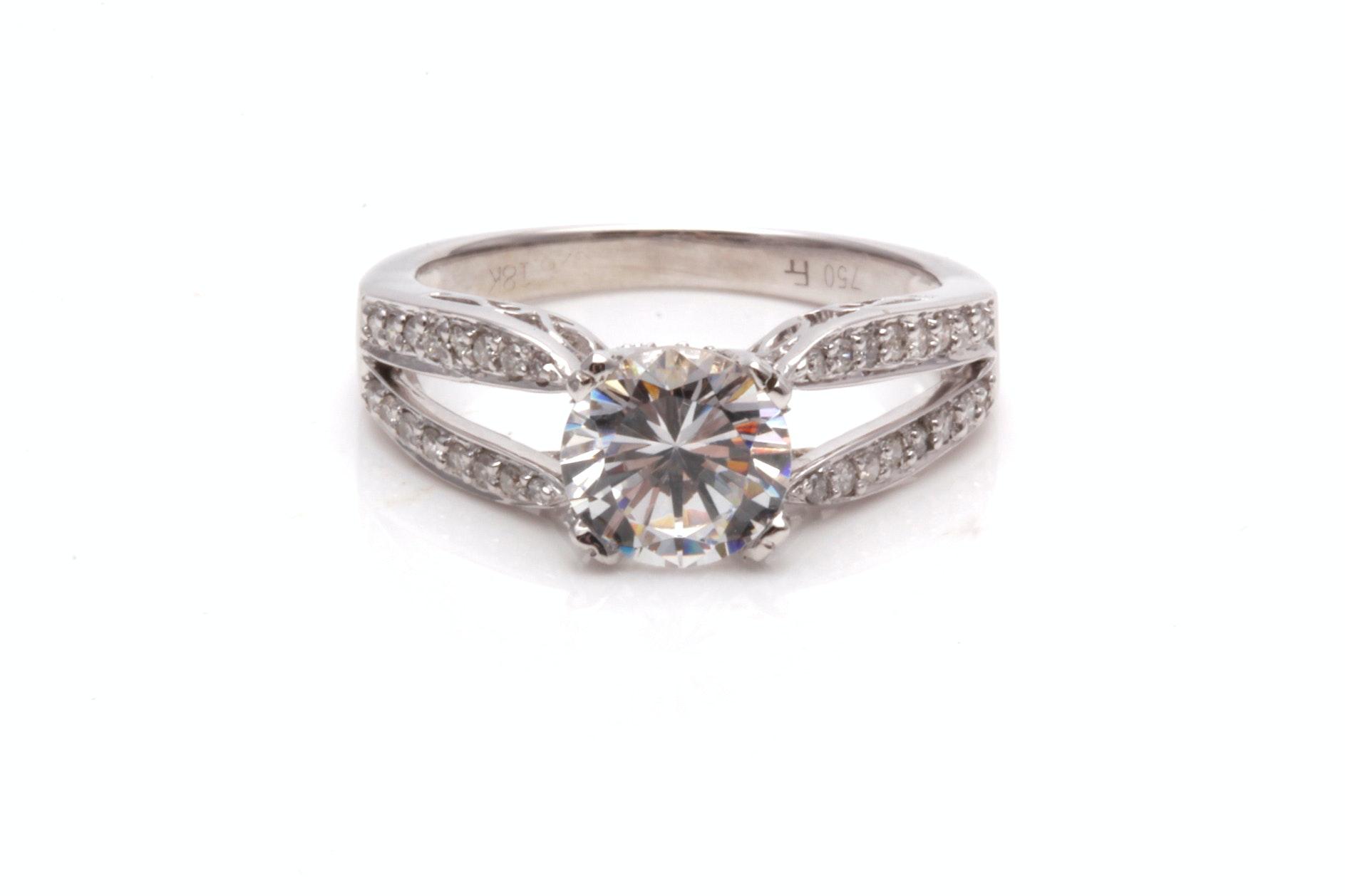 18K White Gold Semi Mount Diamond Ring With Cubic Zirconia Center Stone