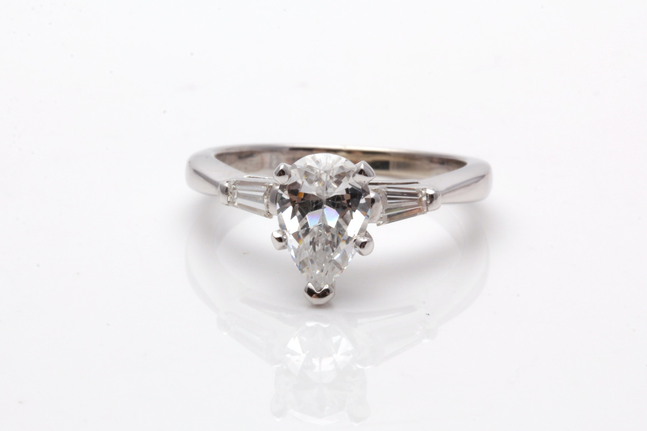 14K White Gold Semi Mount Diamond Ring With Cubic Zirconia Center Stone