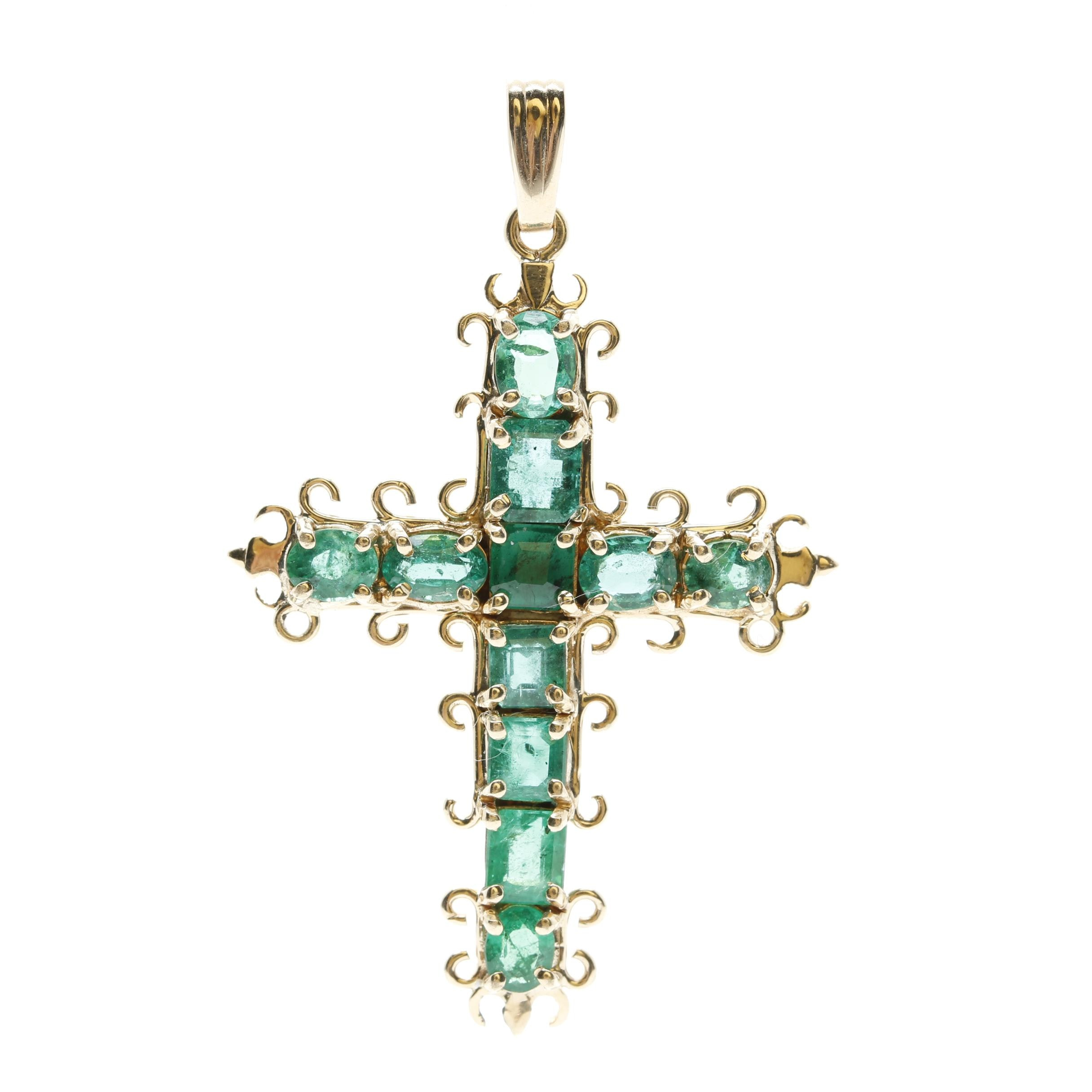 14K Yellow Gold Emerald Cross Pendant