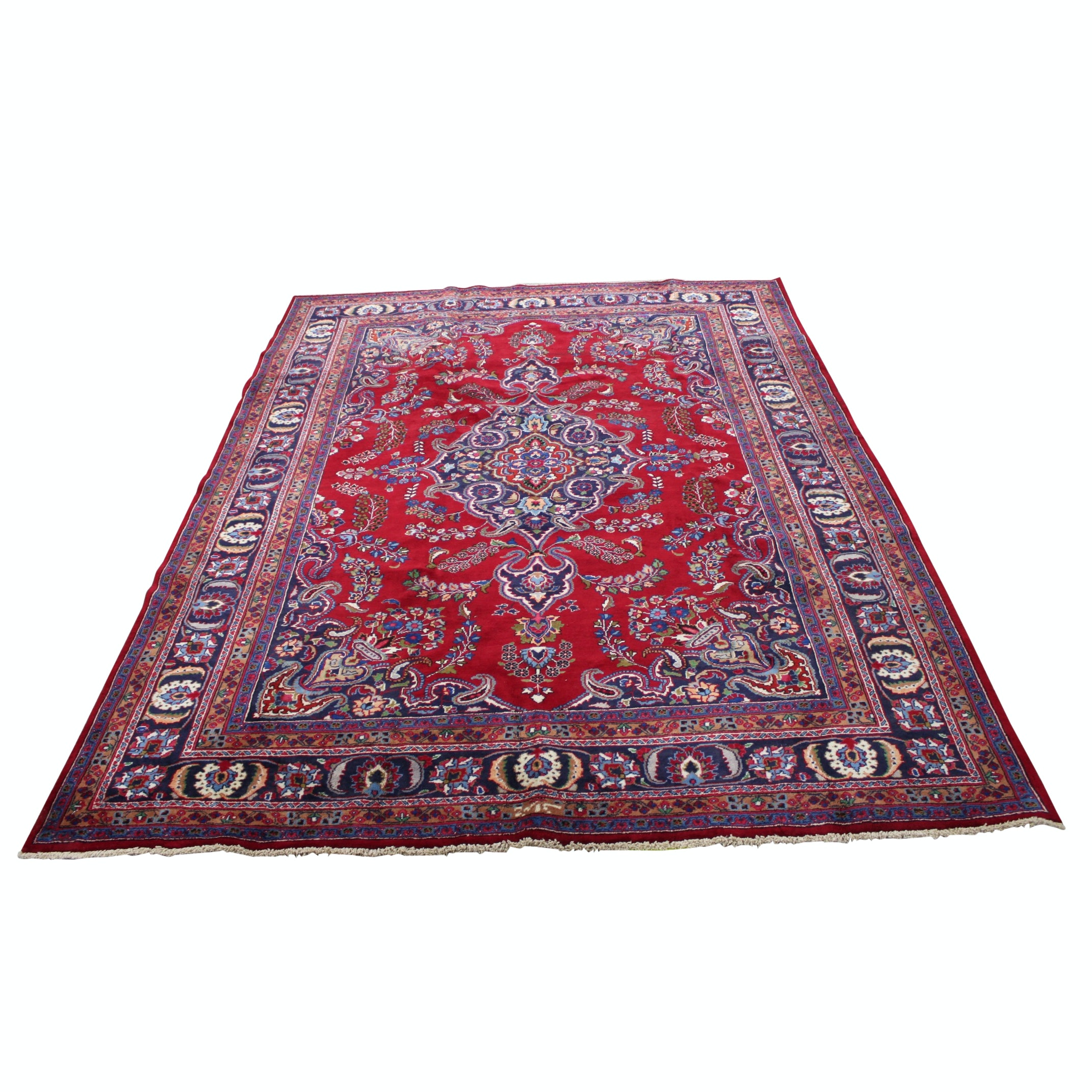 Hand-Knotted Persian Area Rug with Inscription
