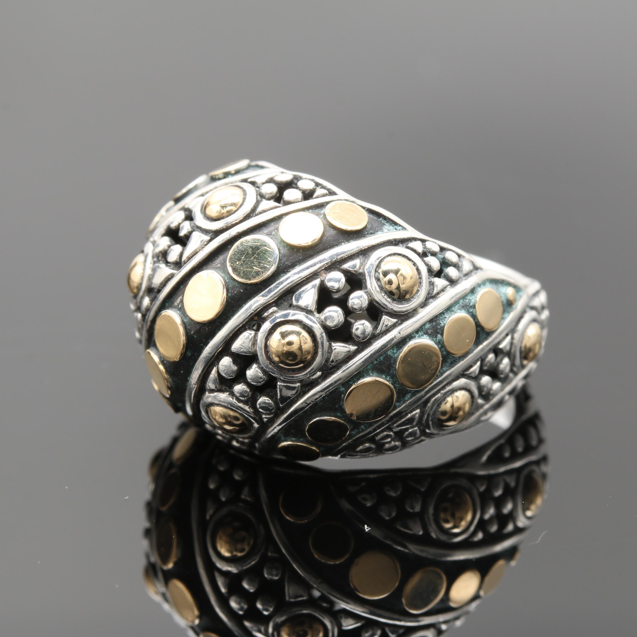 "John Hardy ""Jaisalmer Dot"" Sterling Silver and 18K Yellow Gold Ring"