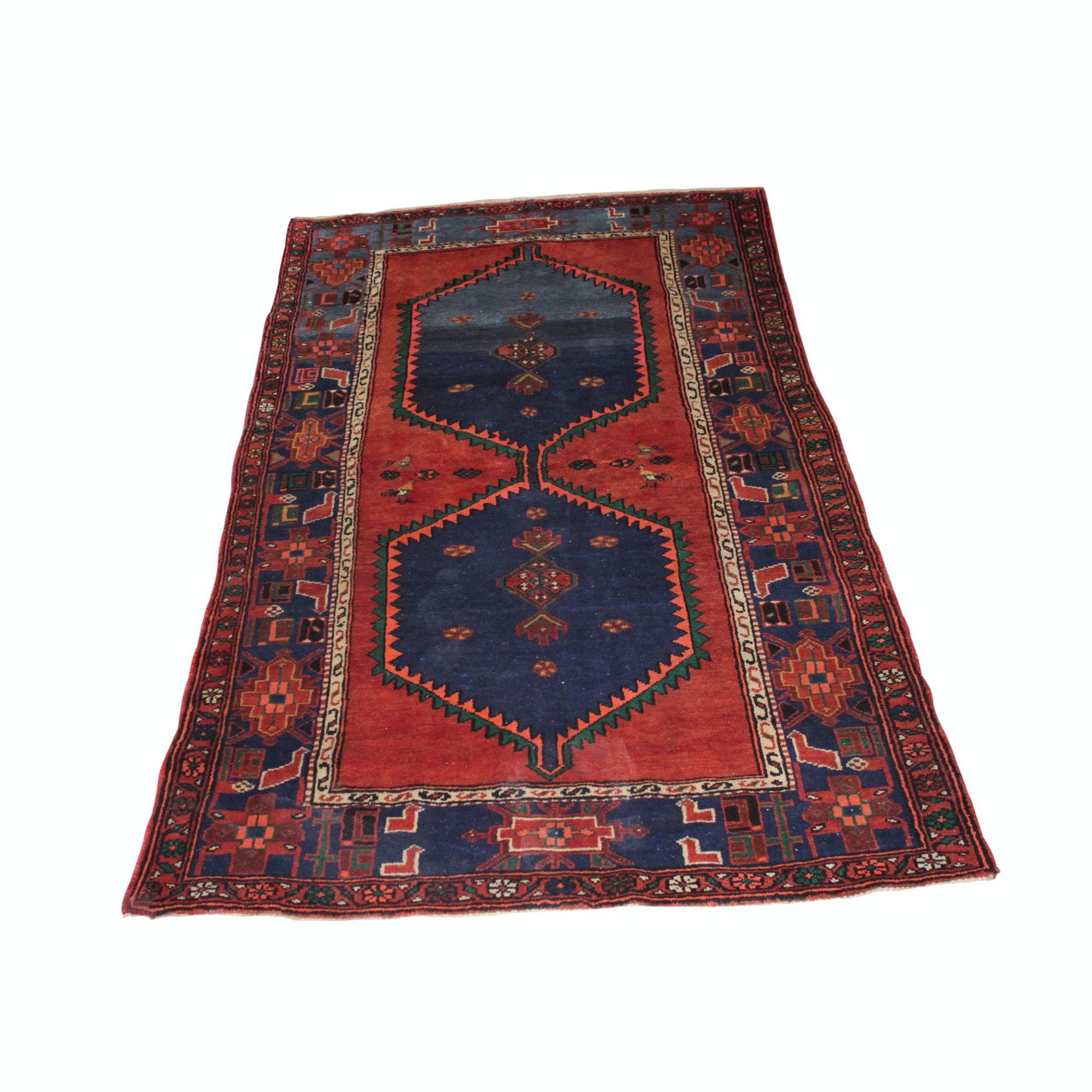 Hand-Knotted Persian Karaja Wool Long Rug