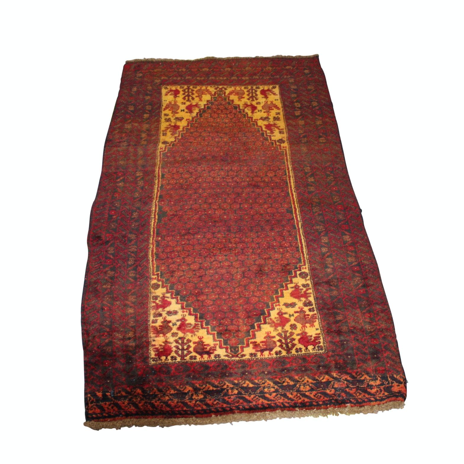 Hand-Knotted Persian Village Wool Area Rug