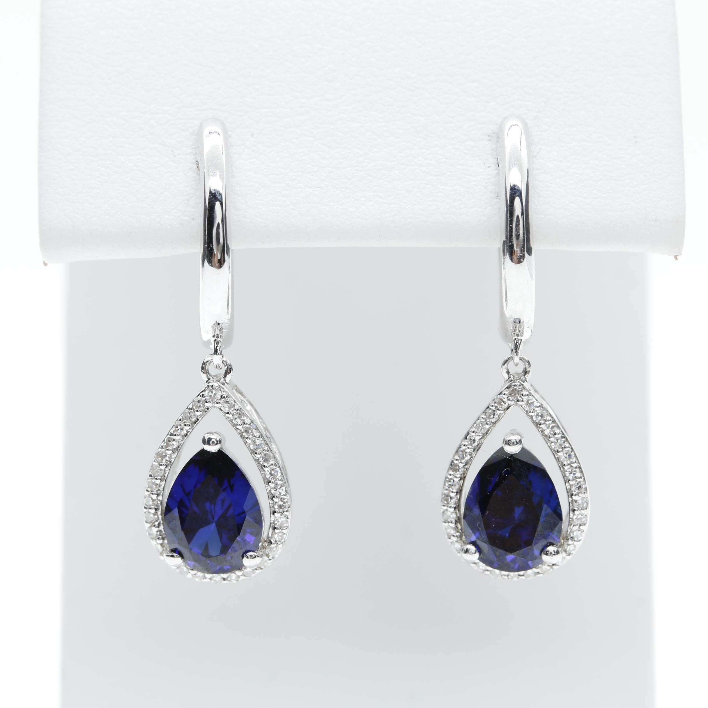 Sterling Silver Synthetic Sapphire and Diamond Earrings