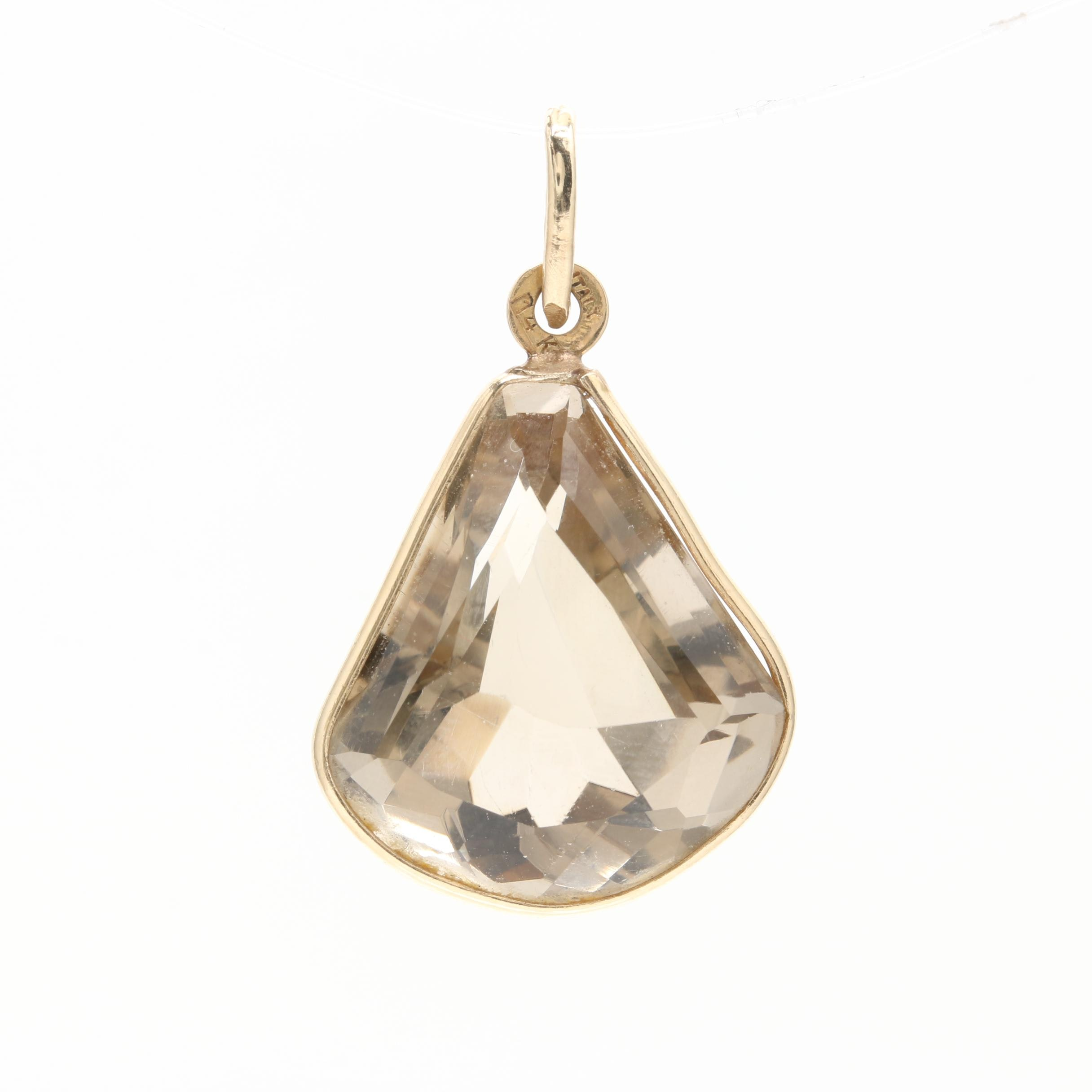 14K Yellow Gold 23.00 CT Smoky Quartz Pendant
