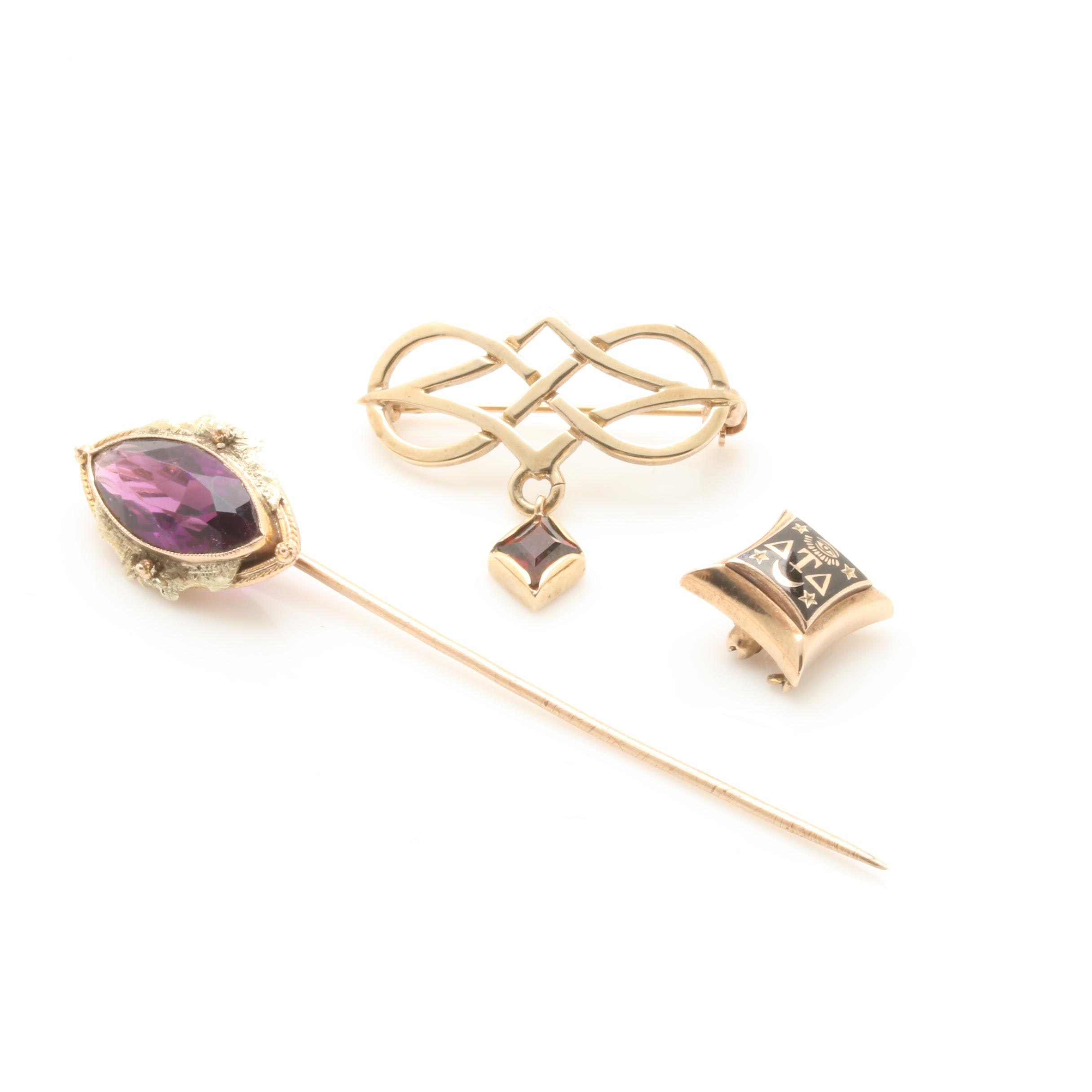 Vintage 10K Yellow Gold Lapel Pin, Stickpin and 9K Yellow Gold Brooch