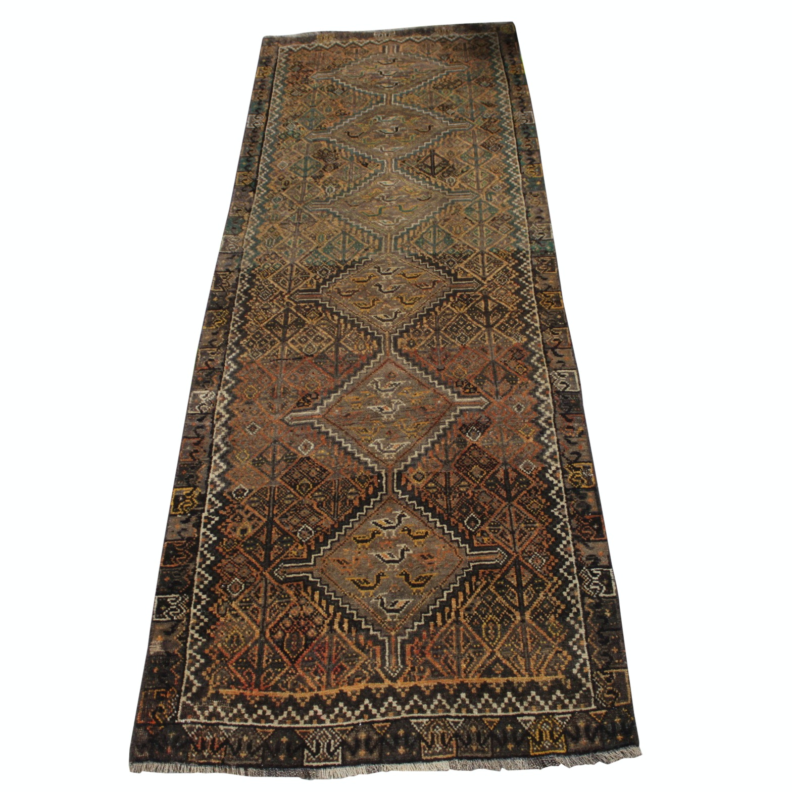 Hand-Knotted Persian Qashqai Wool Long Rug