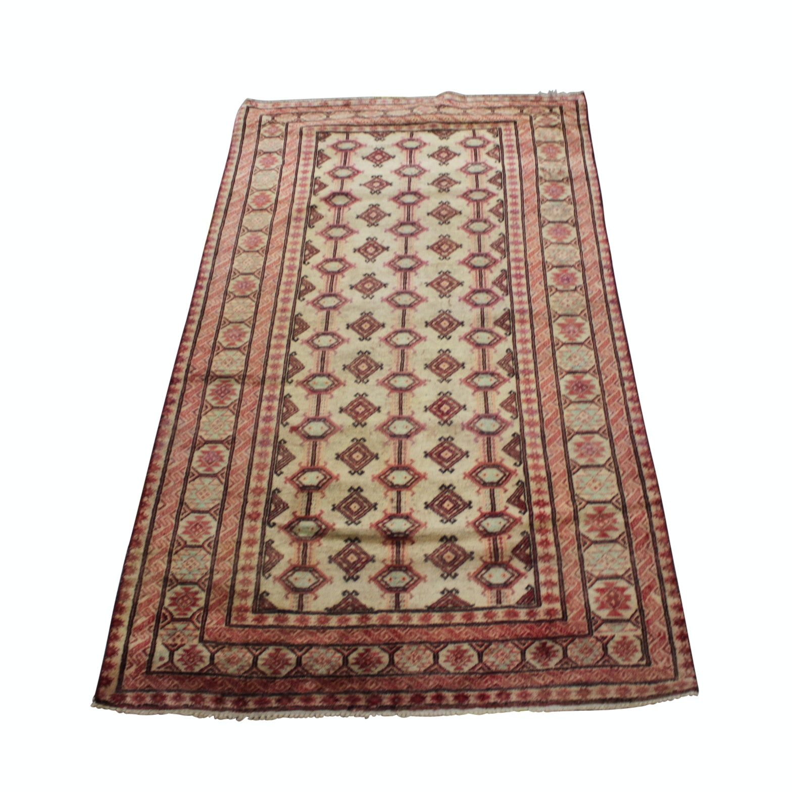 Hand-Knotted Persian Turkmen Heriz Wool Area Rug