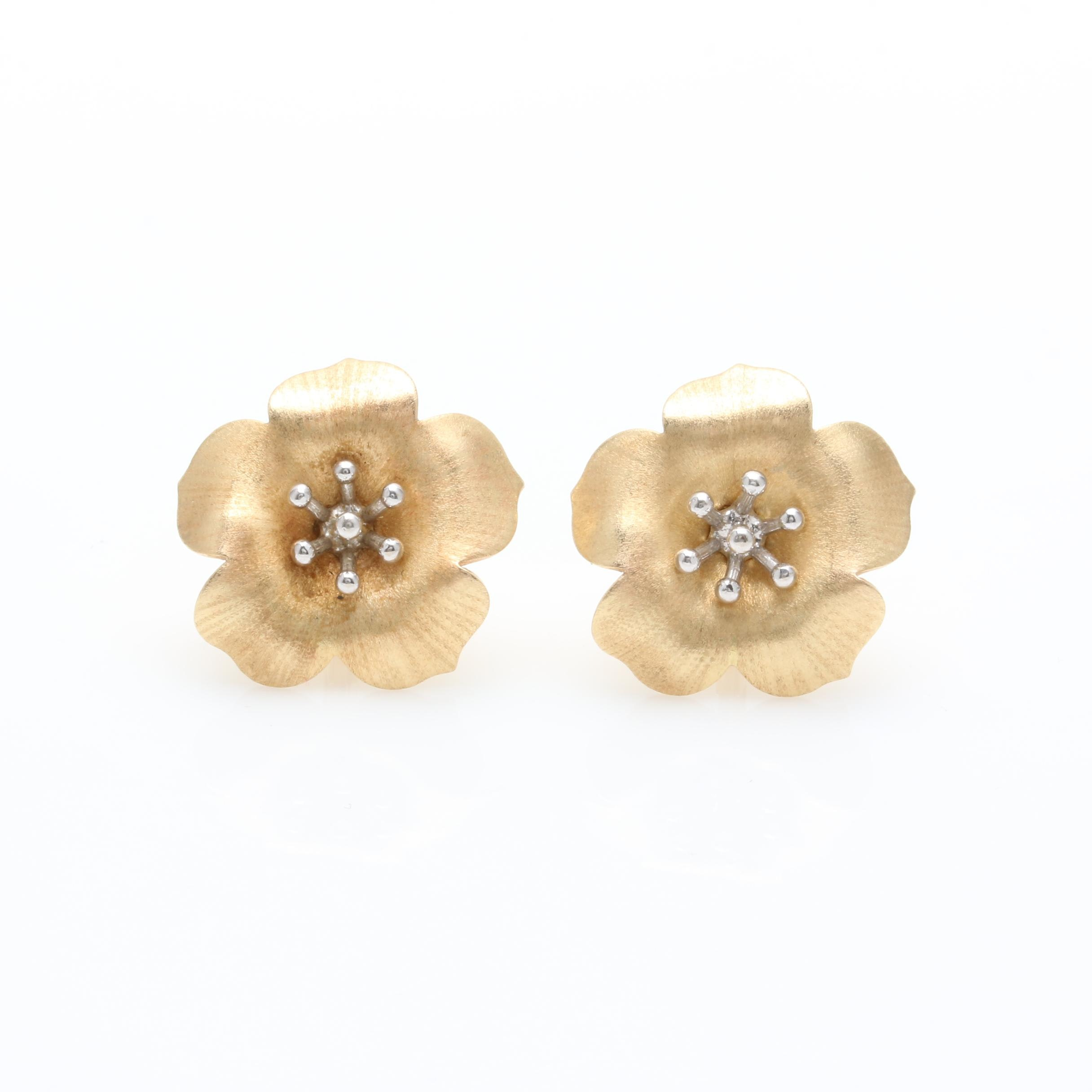 14K Yellow Gold Flower Earrings with 14K White Gold Accents