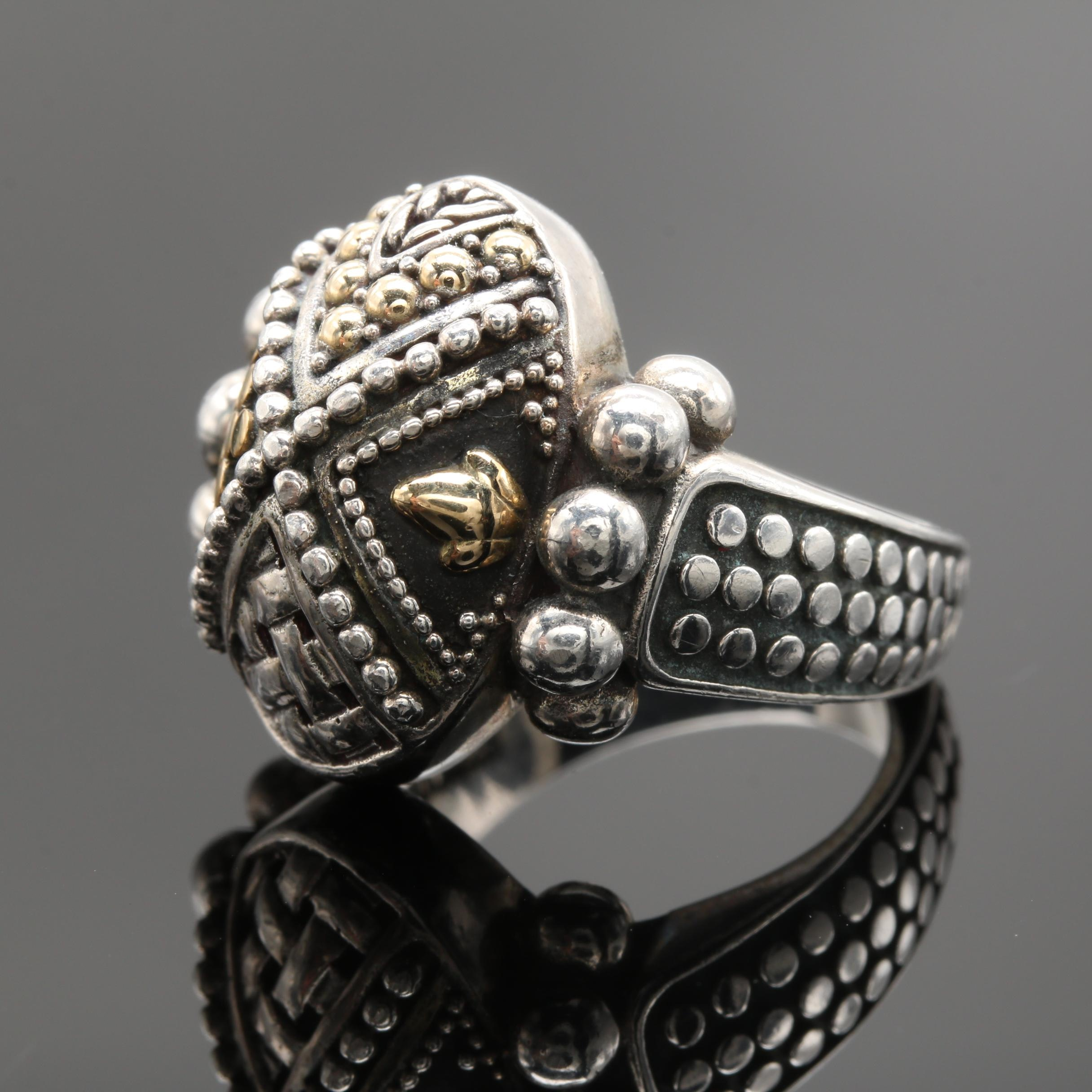 John Hardy Sterling Silver and 18K Yellow Gold Ring