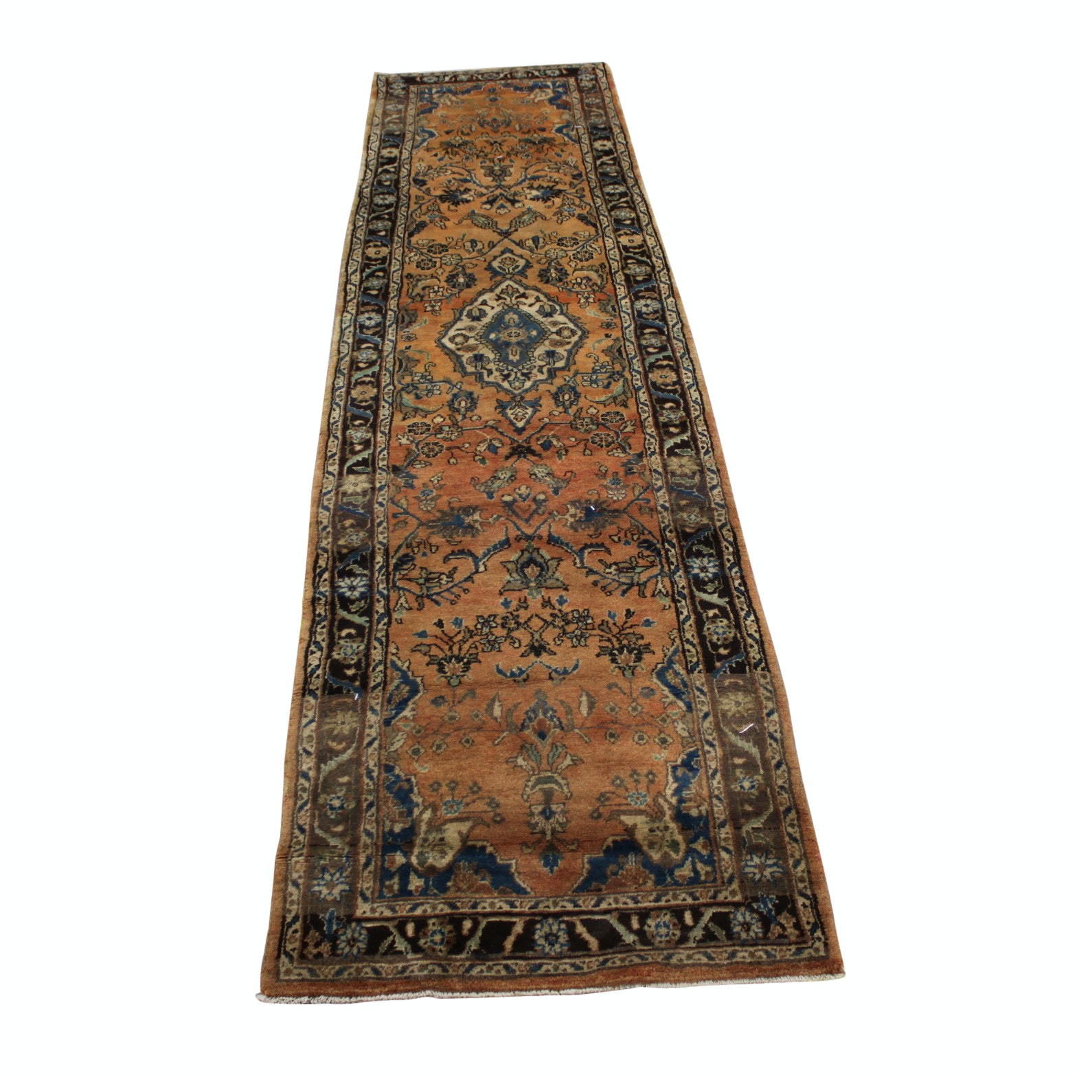 Vintage Hand-Knotted Persian Mahal Wool Carpet Runner
